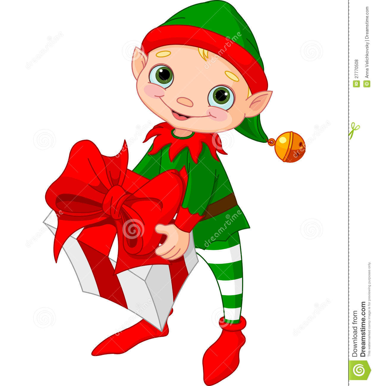 Christmas Elf With T Stock Vector Illustration Of