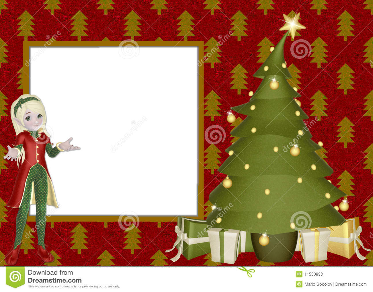 Girl Pages Of Wallpaper Christmas Elf Scrapbook Page Stock Illustration Image