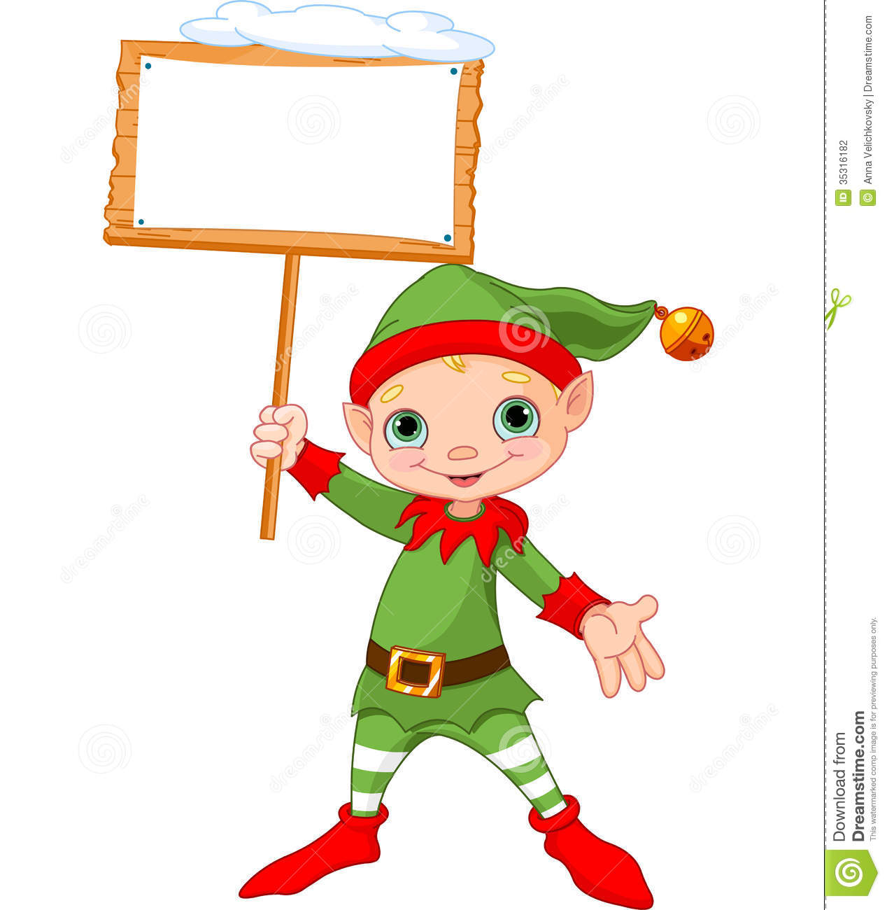 Christmas Elf With Sign Stock Vector Illustration Of