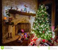 Christmas In The Family Room Stock Photo - Image of ...