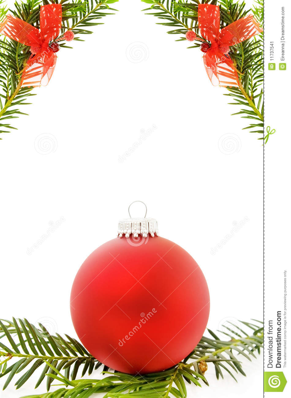 Christmas Festive Border With Red Bauble Stock Image