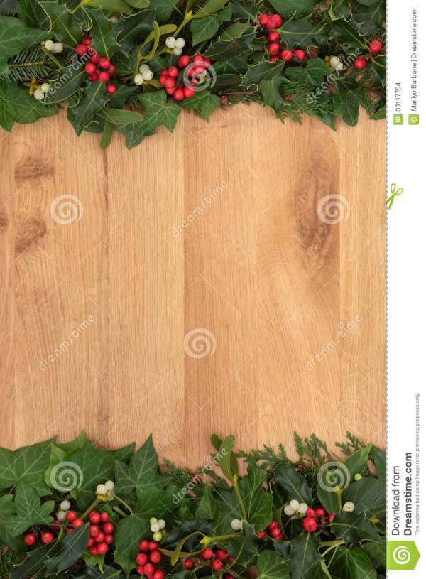 Christmas Flora On Oak Stock Images Image 33117754