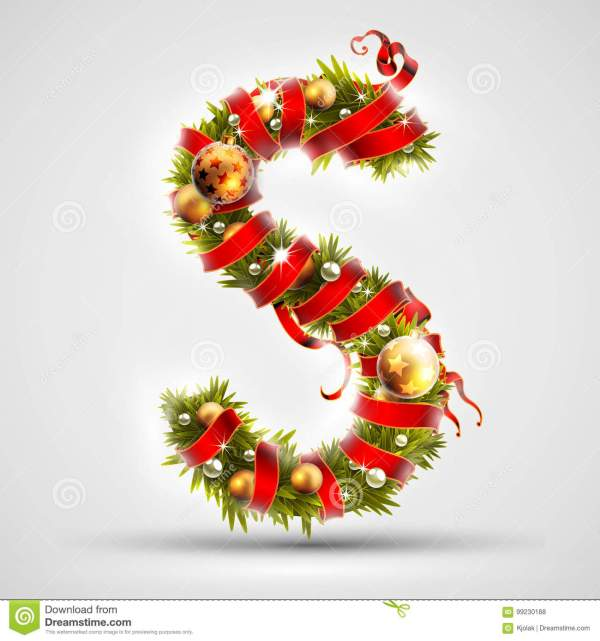 Christmas Font. Letter S Of Christmas Tree Branches ...