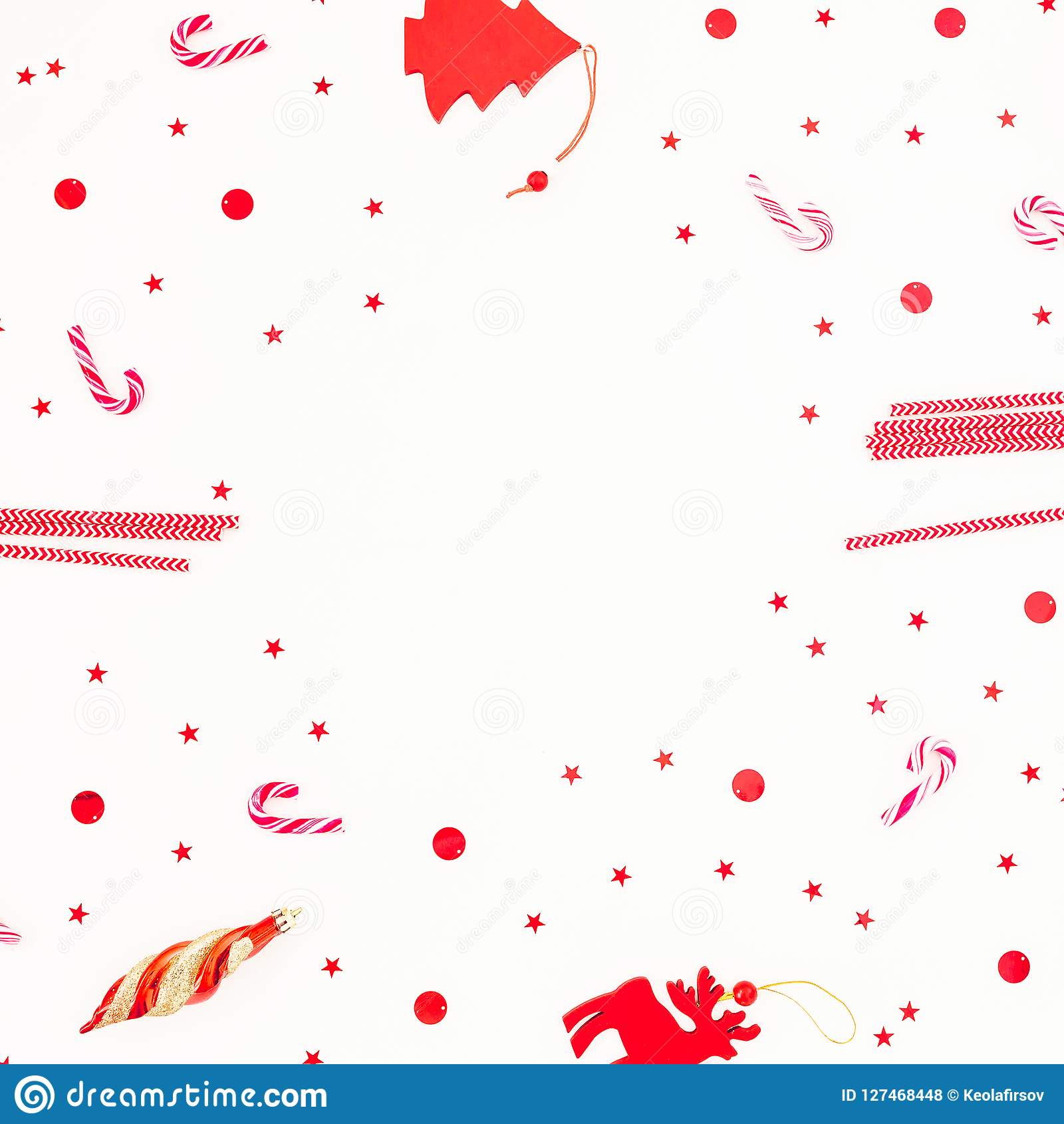 Christmas Frame Composition With Candy Cane And Tree Red