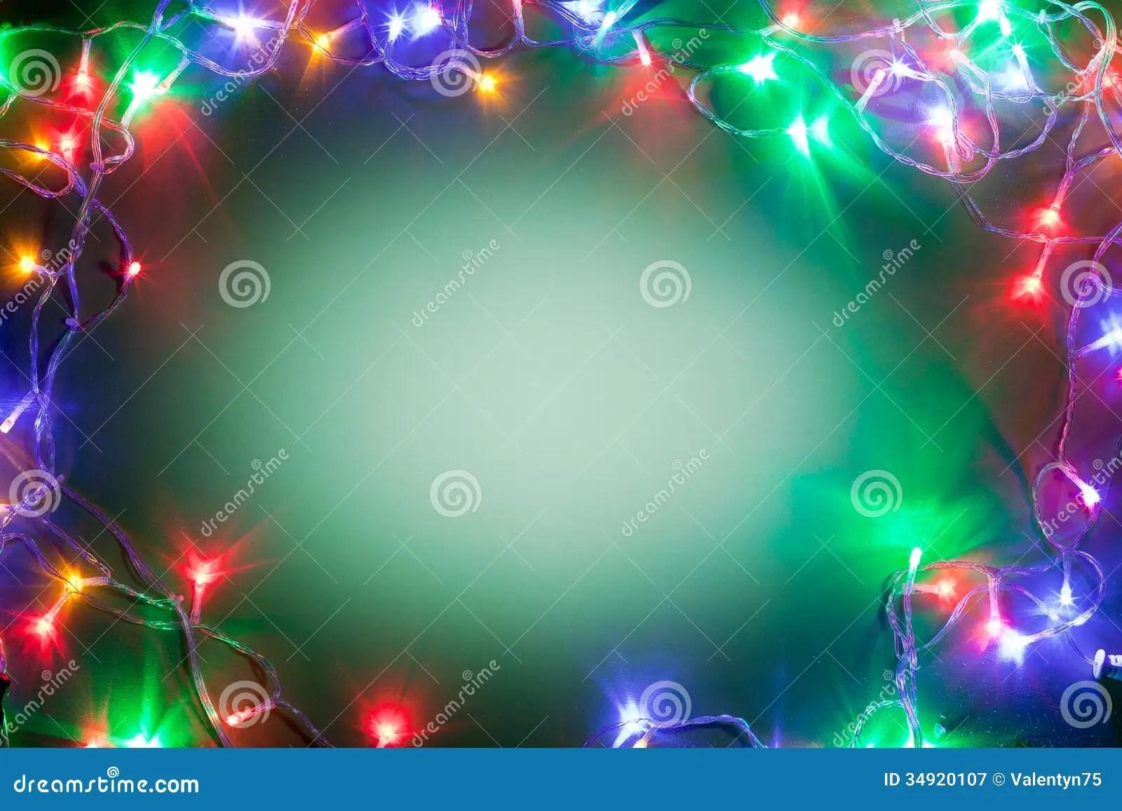 Christmas Frame With Fairy Lights Stock Image Image