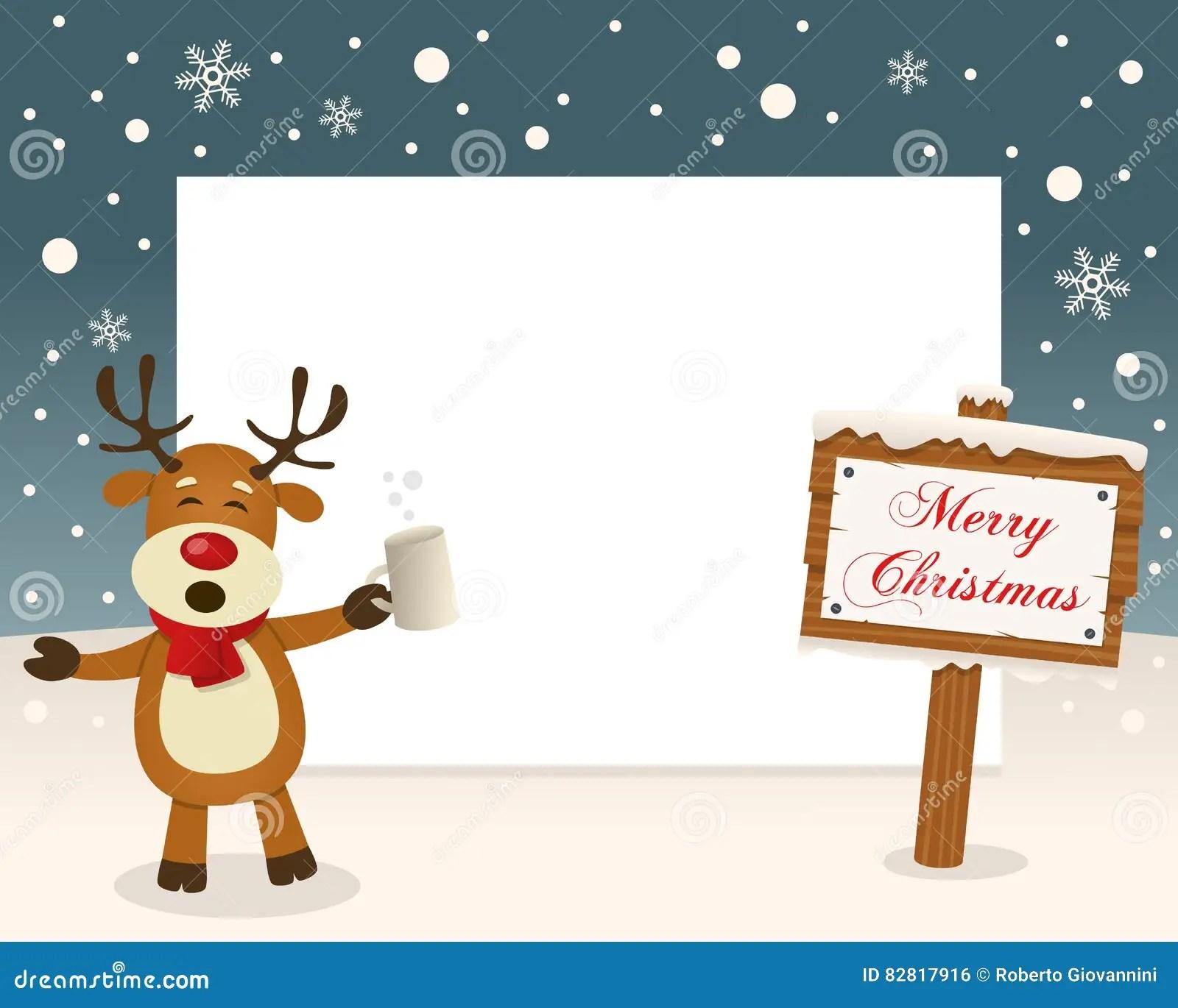 Christmas Frame Sign Amp Drunk Reindeer Vector Illustration