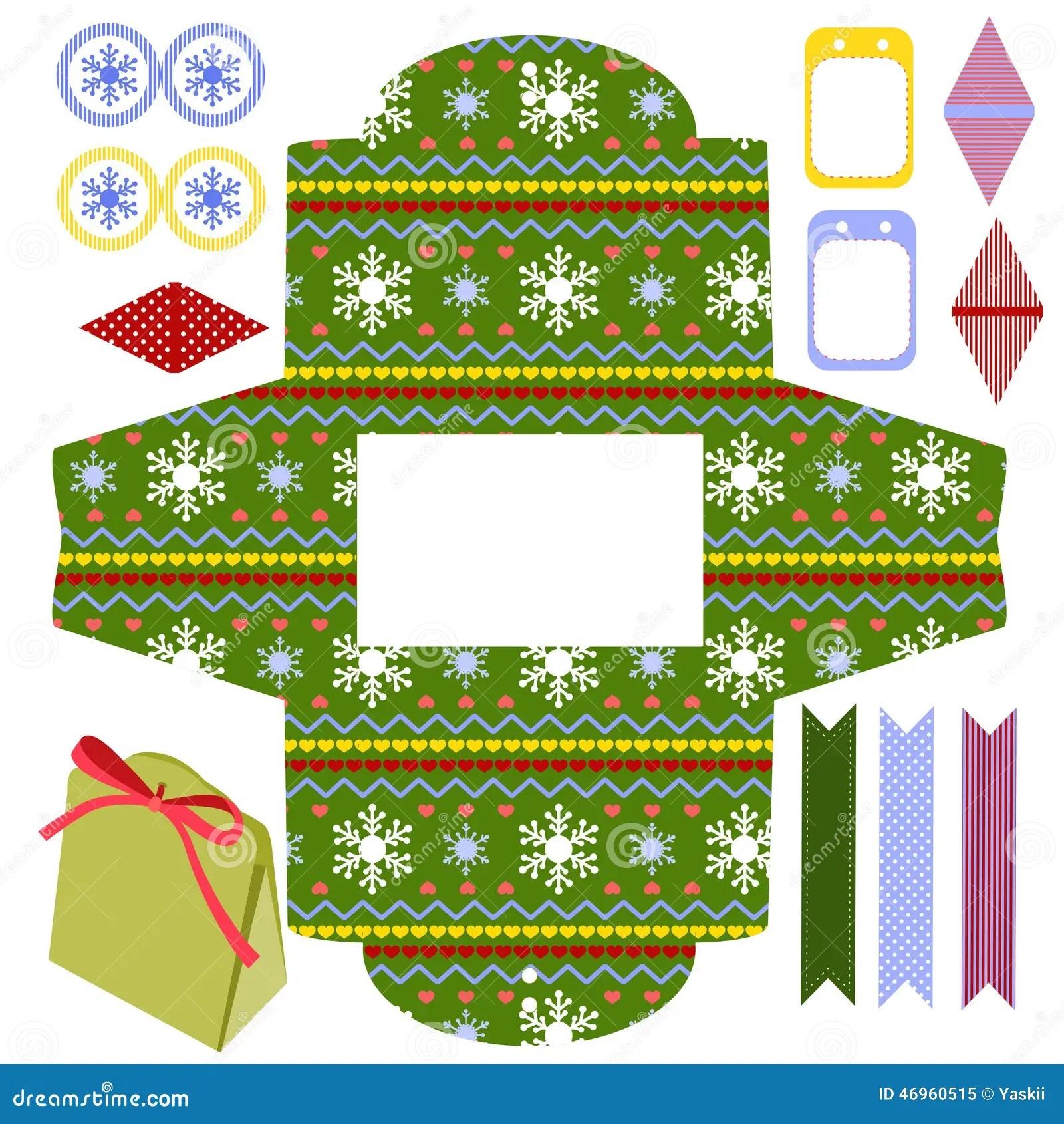 Christmas T Box Template Stock Vector