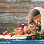 Christmas Gifts And Baubles Spilling From Mailbox Stock Photo Image Of Decorate Copyspace 133019950
