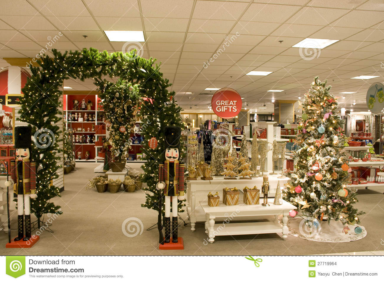 Christmas Gifts In Department Store Stock Photo  Image of