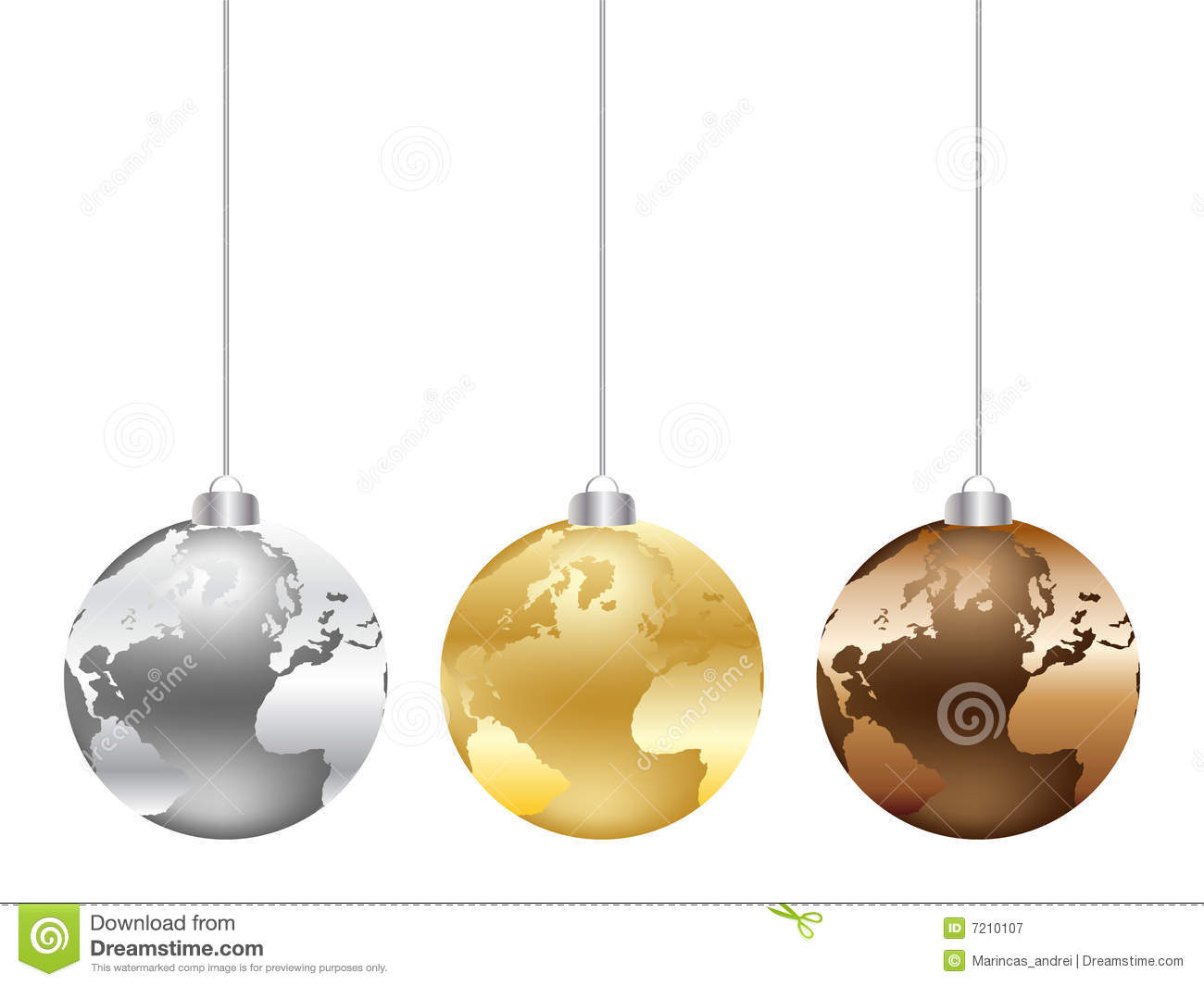 Christmas Globe With World Map Royalty Free Stock