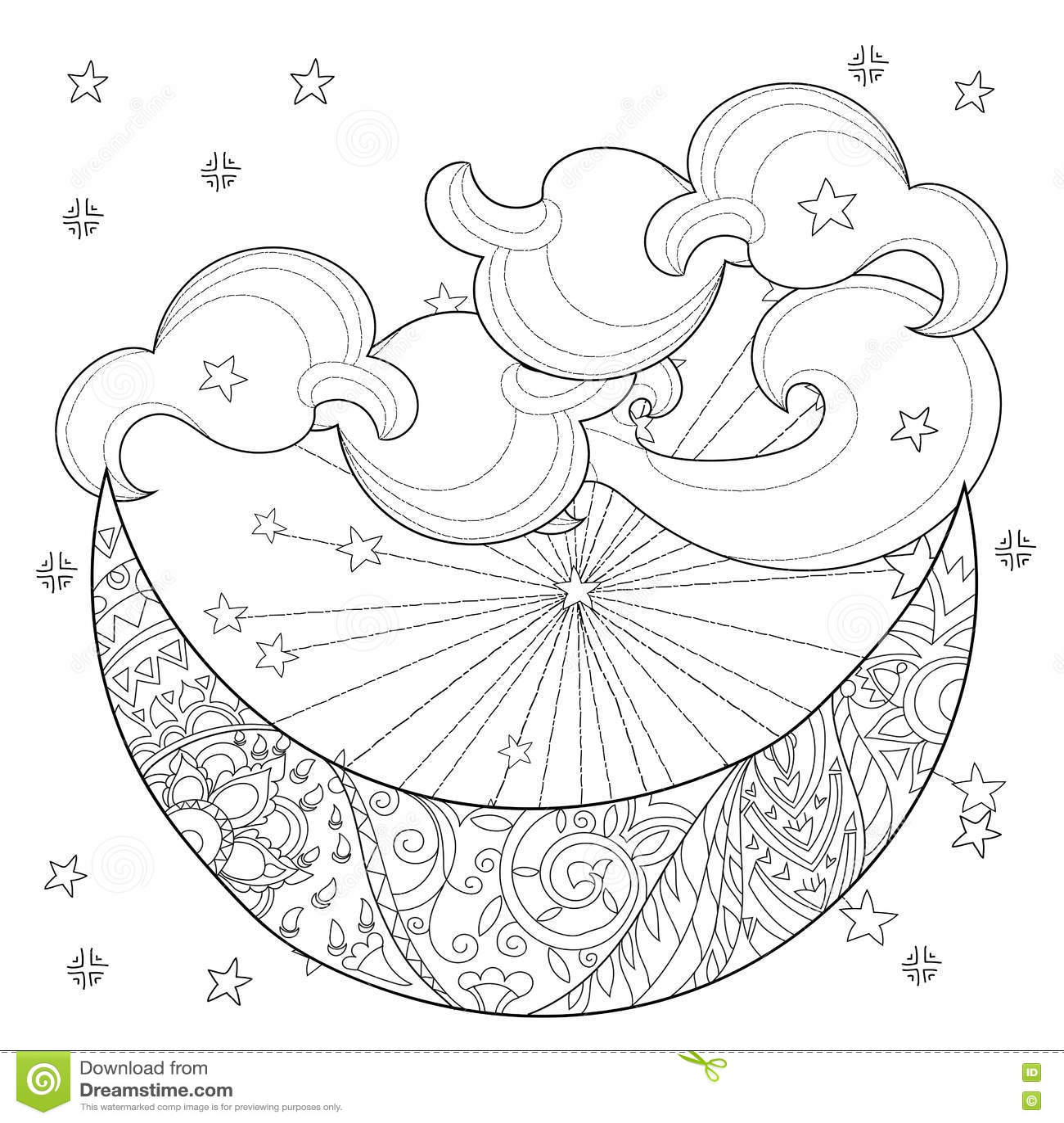 Christmas Half Moon With Stars Stock Vector