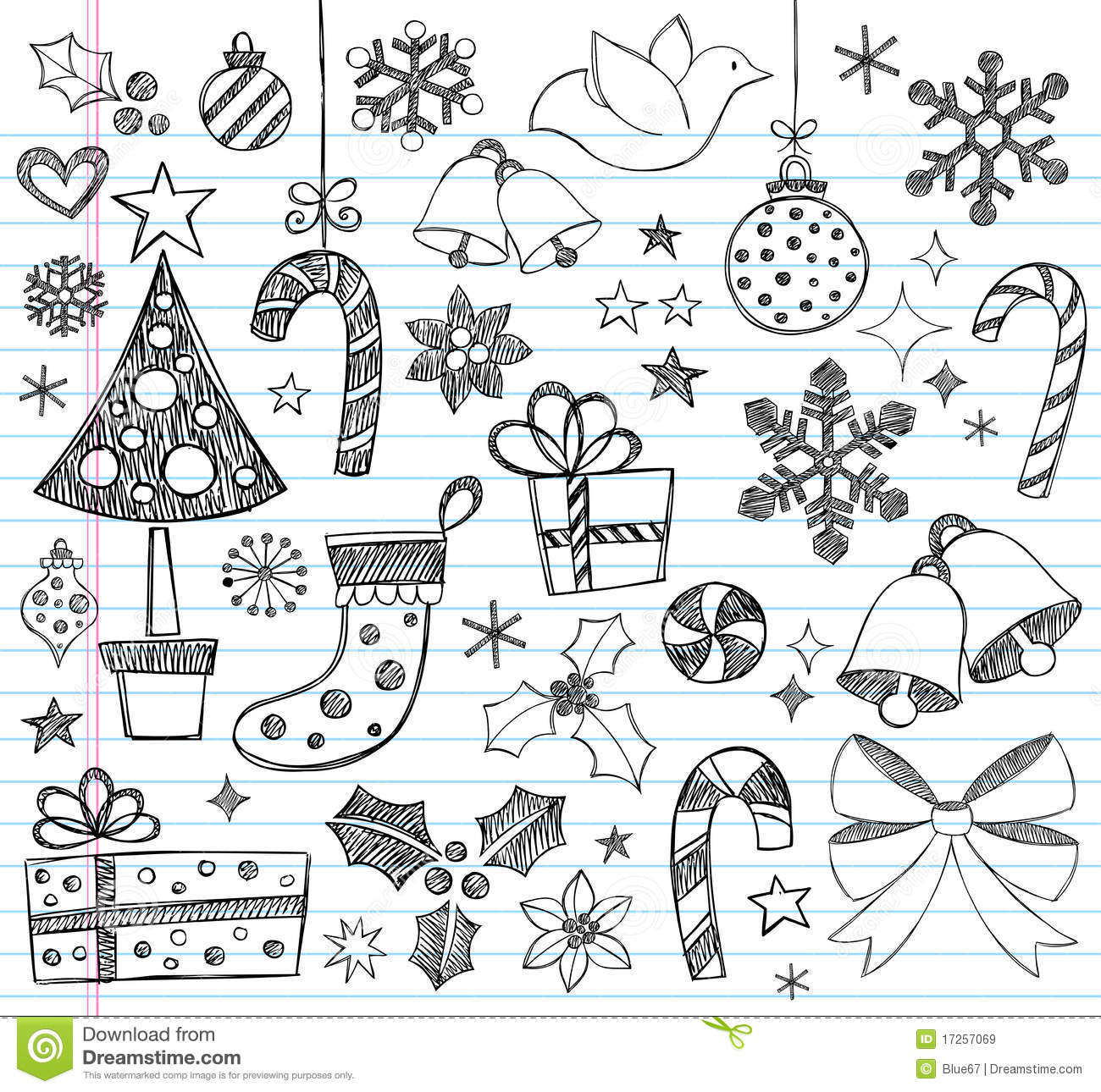 Christmas Hand Drawn Sketchy Doodles Stock Vector