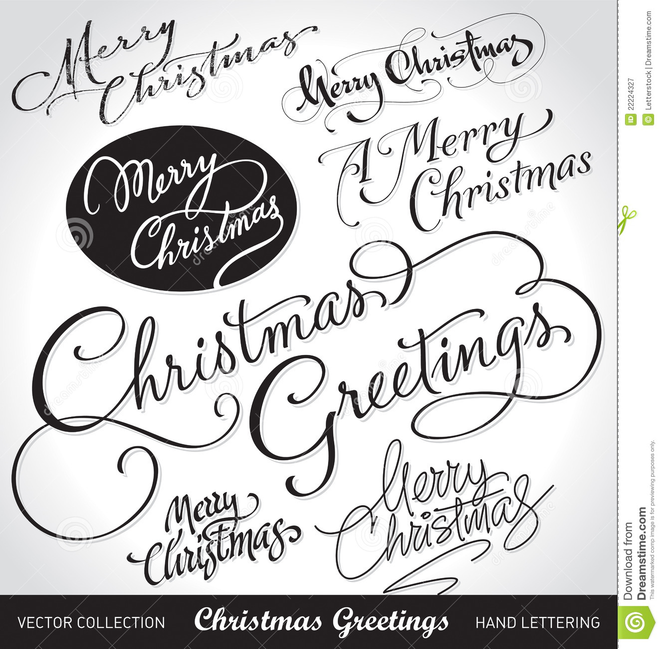 Christmas Hand Lettering Set Vector Royalty Free Stock