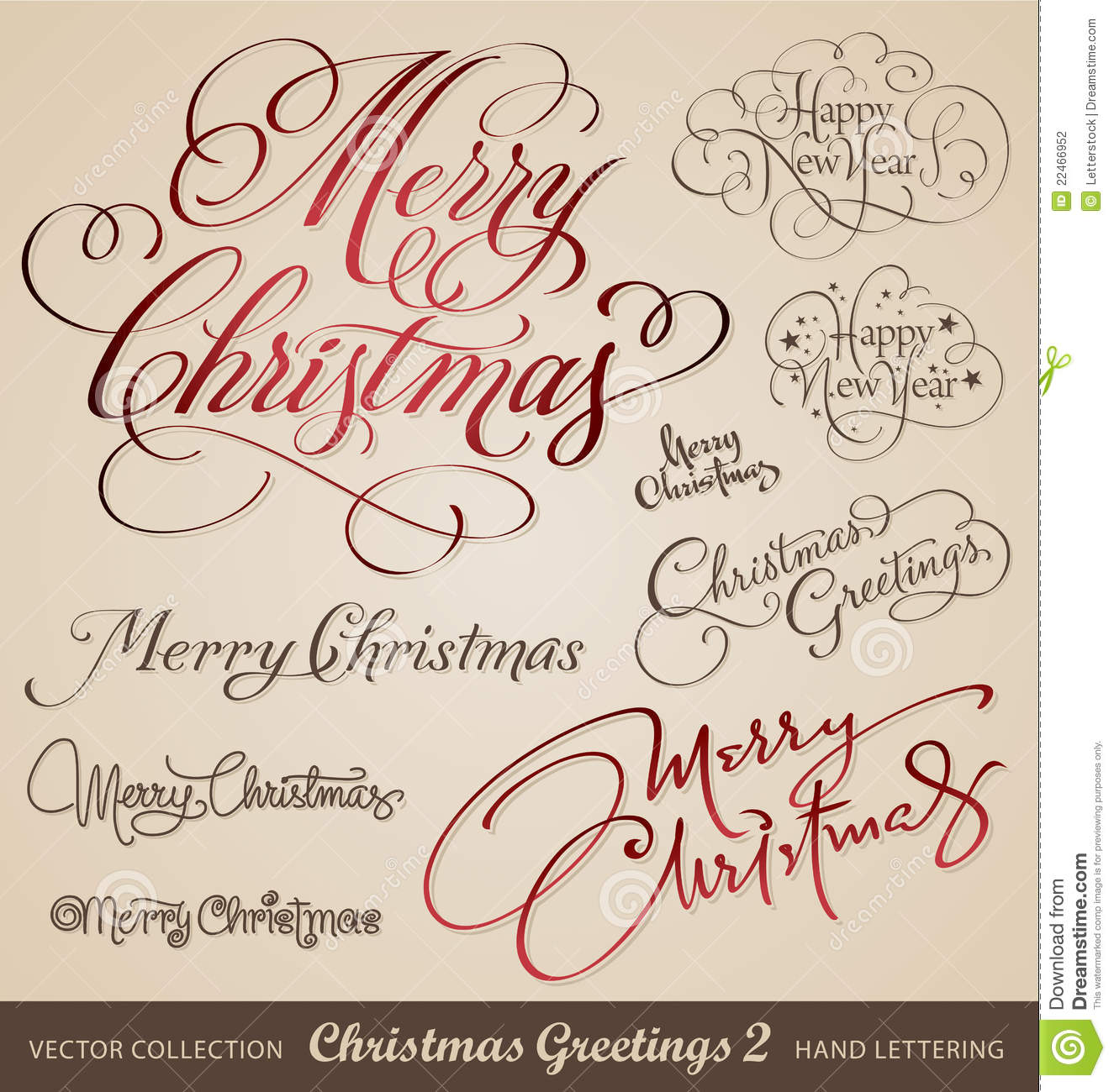 Christmas Hand Lettering Set Vector Stock Photography