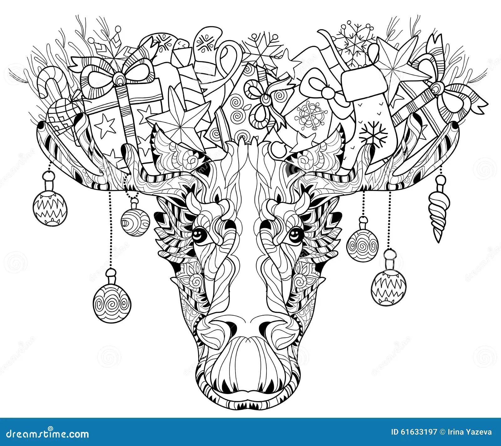 Christmas Head Of Elk Layered Vector Illustration Stock