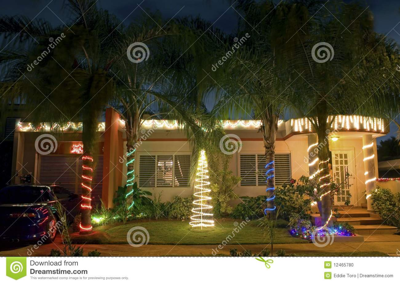 Christmas House In Puerto Rico Stock Photo  Image of decorations tropical 12465780