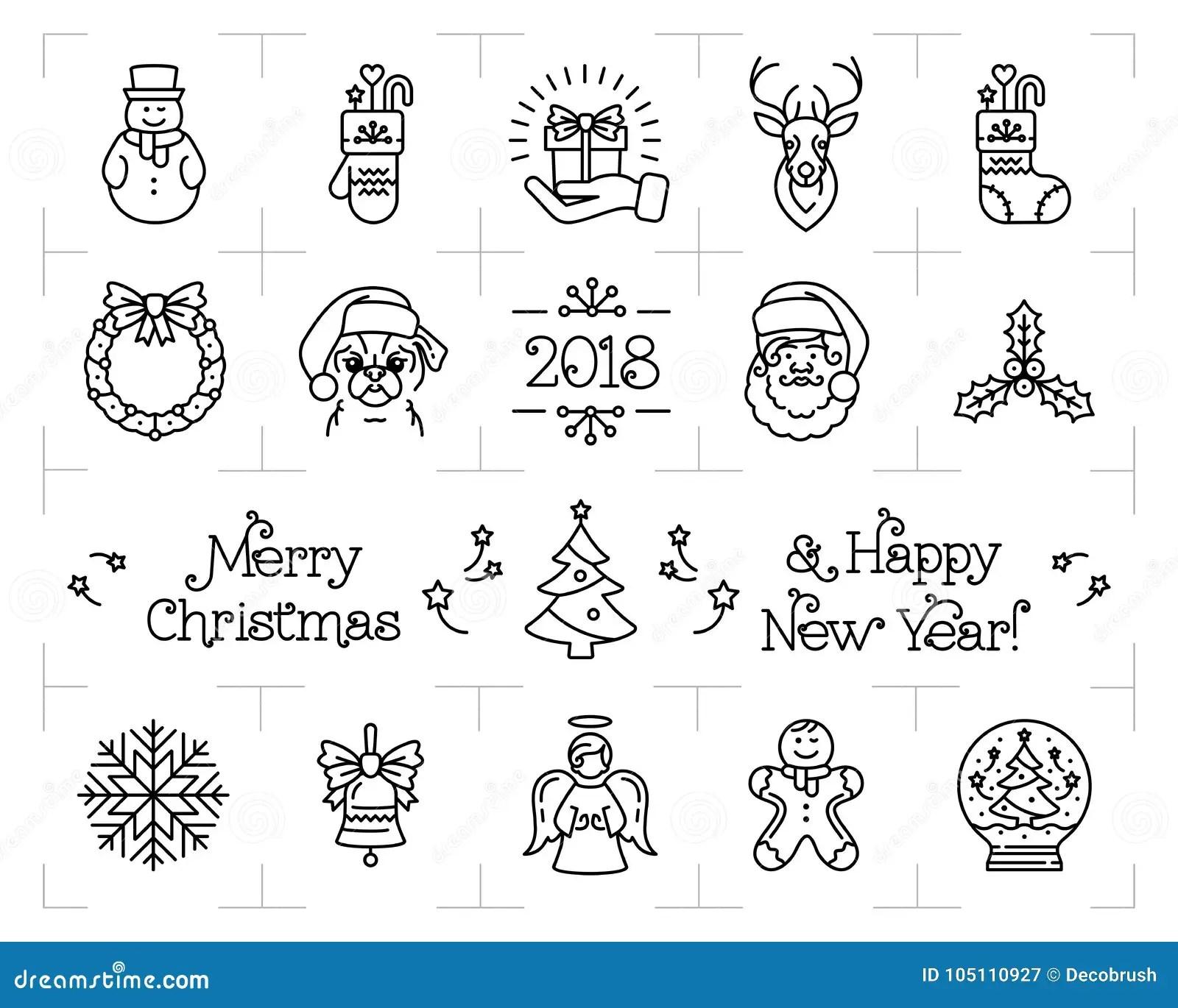 christmas icons set holiday