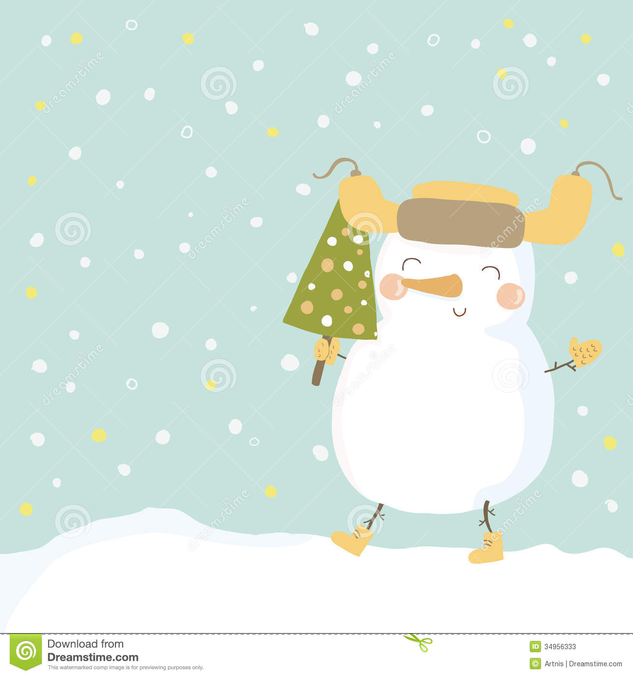 Christmas Illustration With Cute Snowman Stock Vector