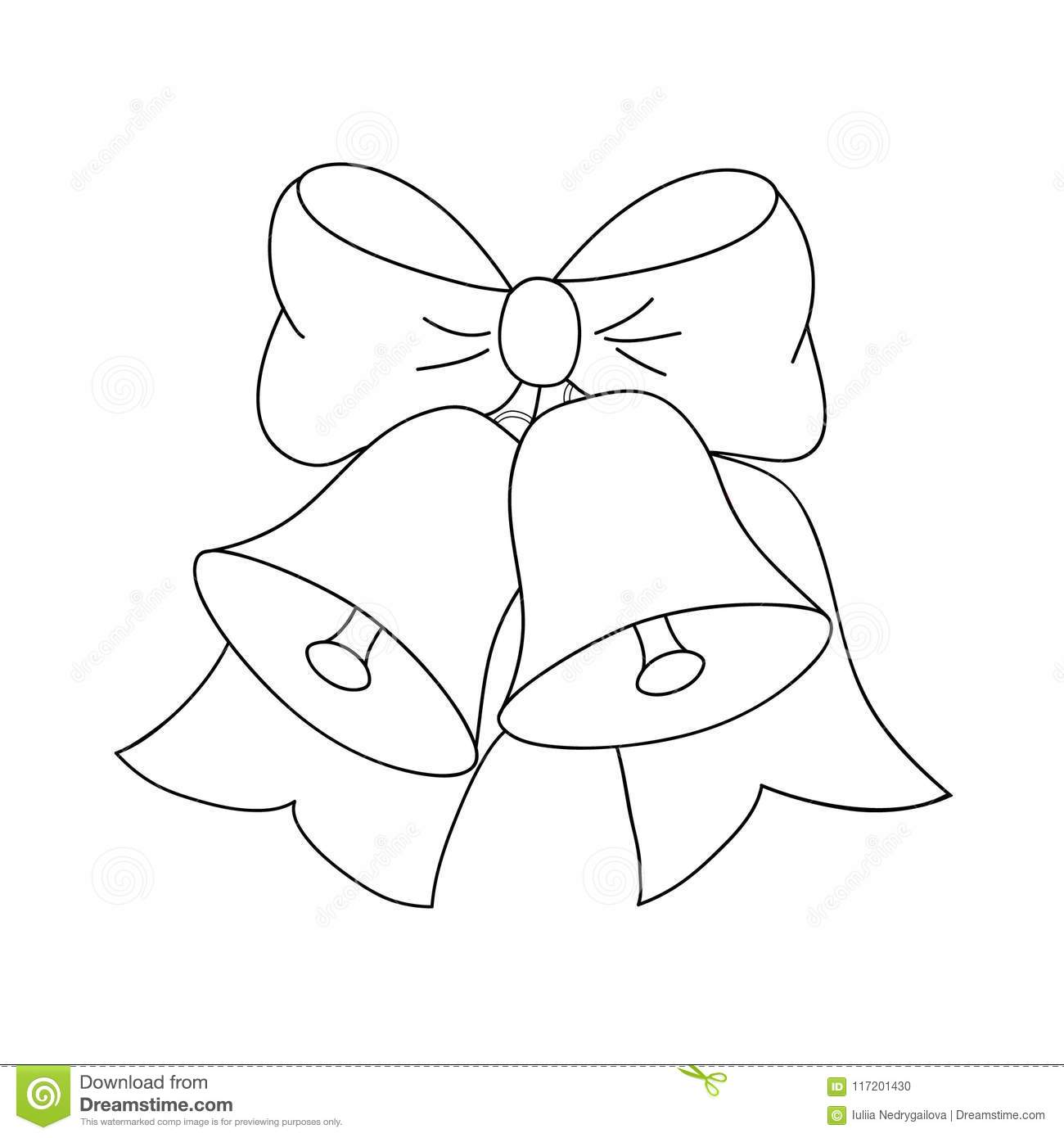 Christmas Jingle Bells With Bow Black And White Colors