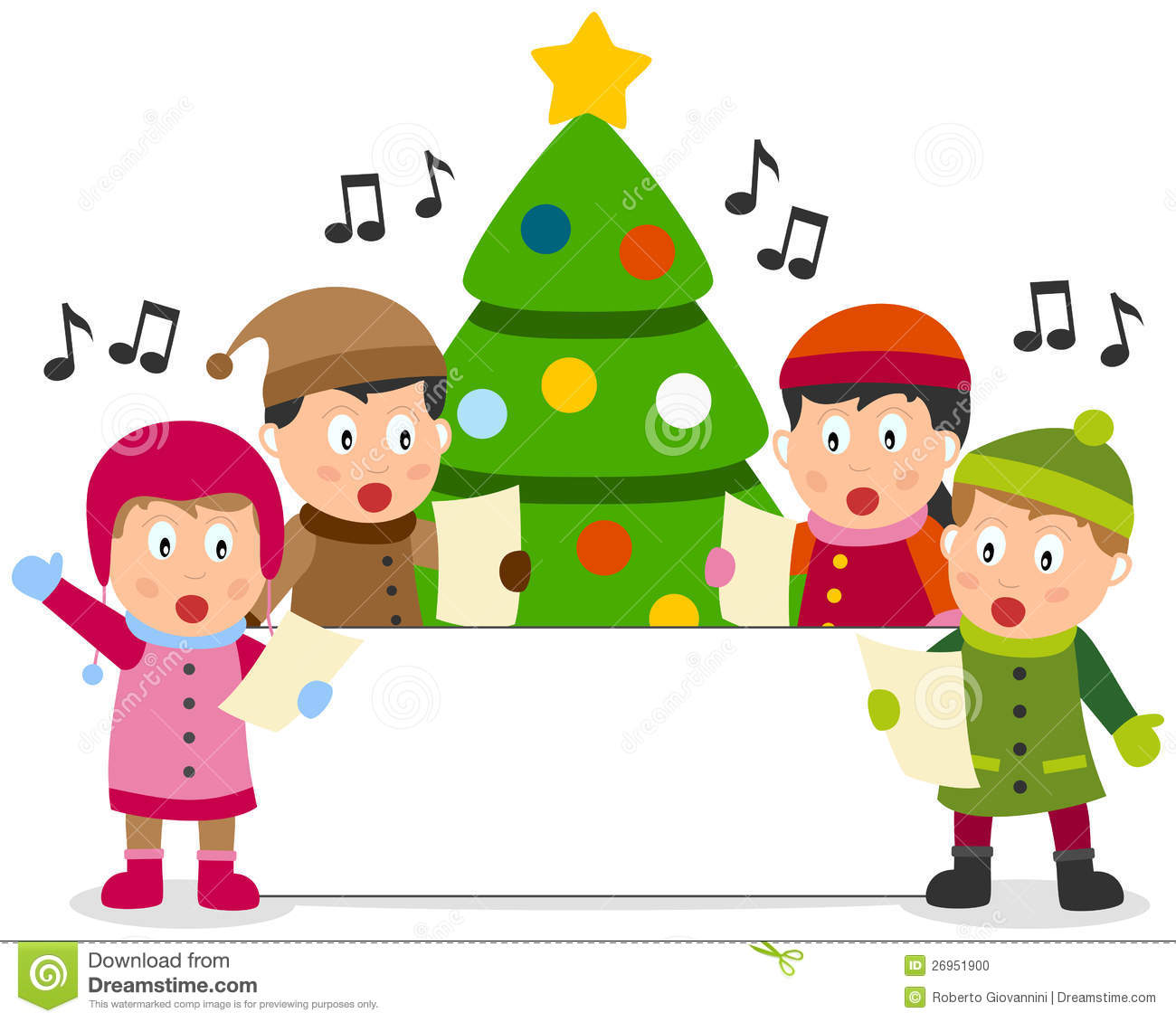 Christmas Kids And Banner Stock Vector Illustration Of