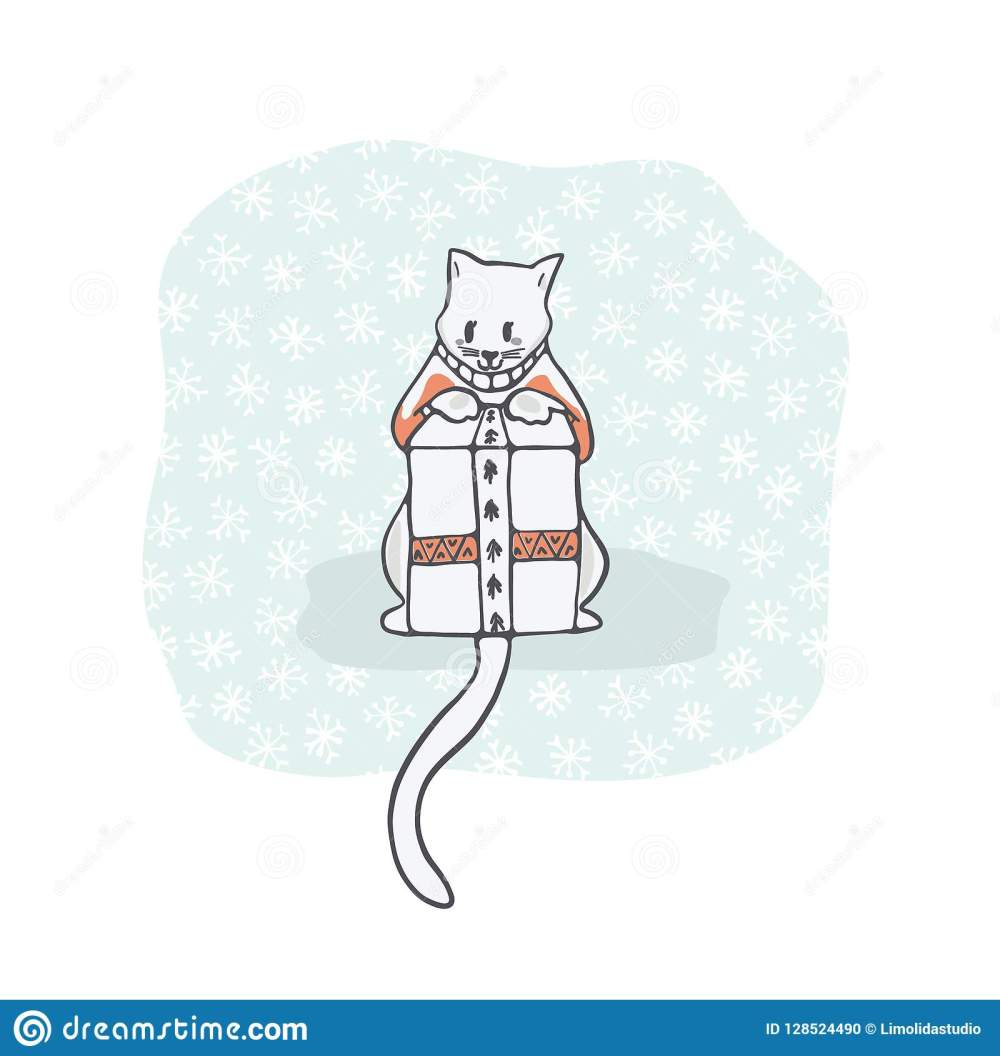 medium resolution of christmas kitten embroidery jumper and present box clipart hand drawn