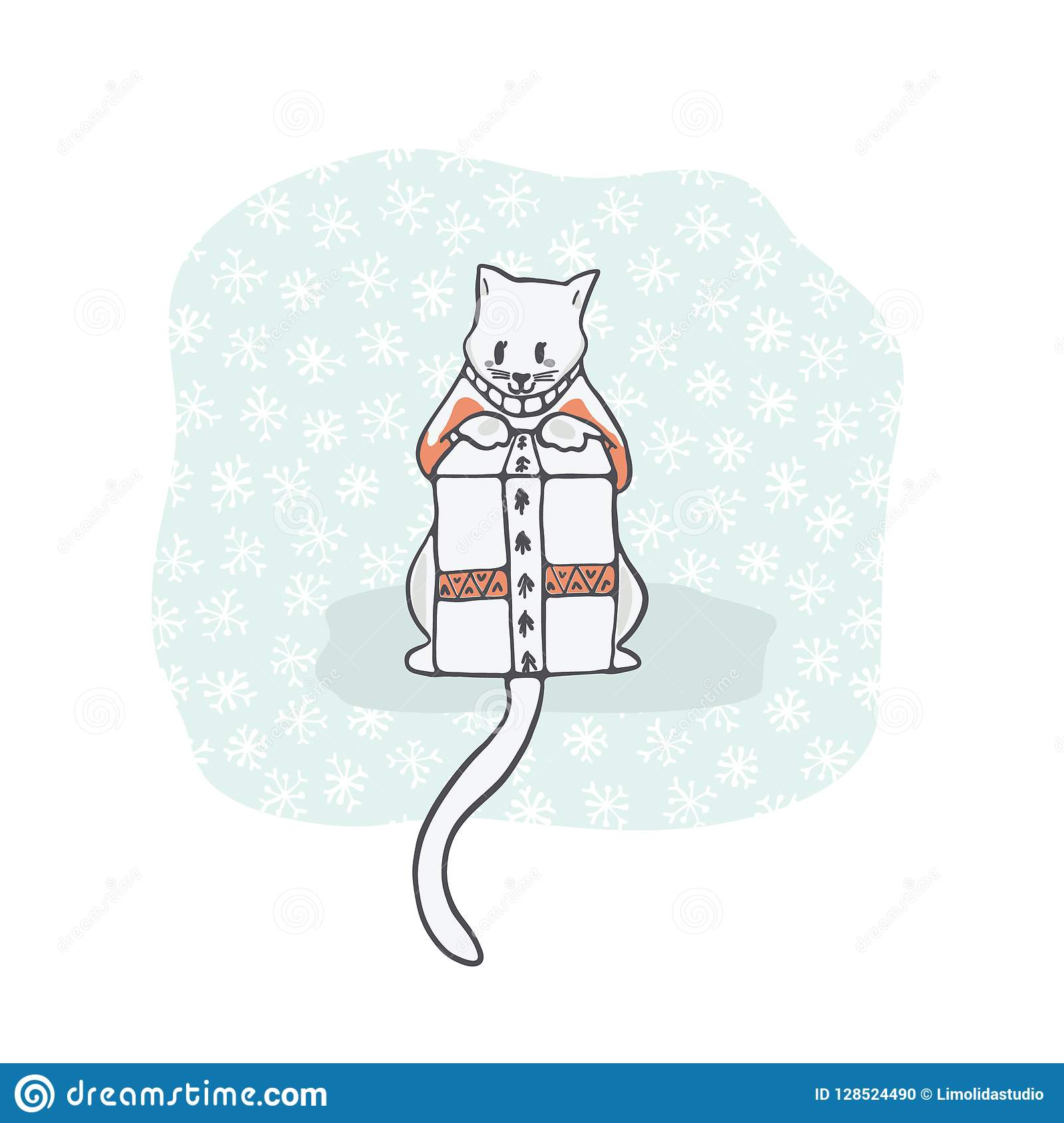 hight resolution of christmas kitten embroidery jumper and present box clipart hand drawn
