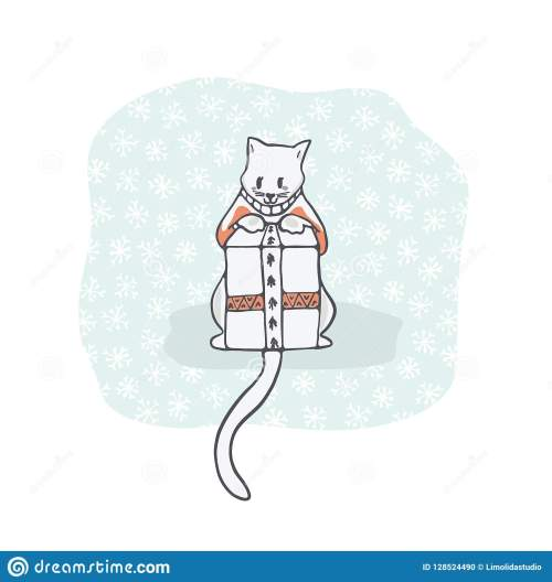 small resolution of christmas kitten embroidery jumper and present box clipart hand drawn