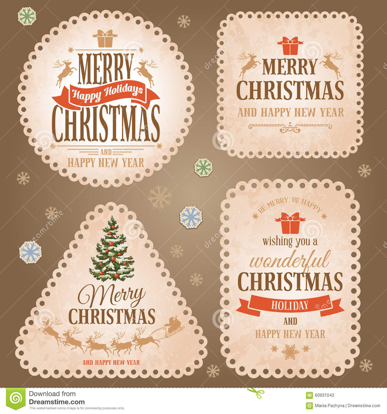Christmas Labels Set Stock Vector Image 60931042