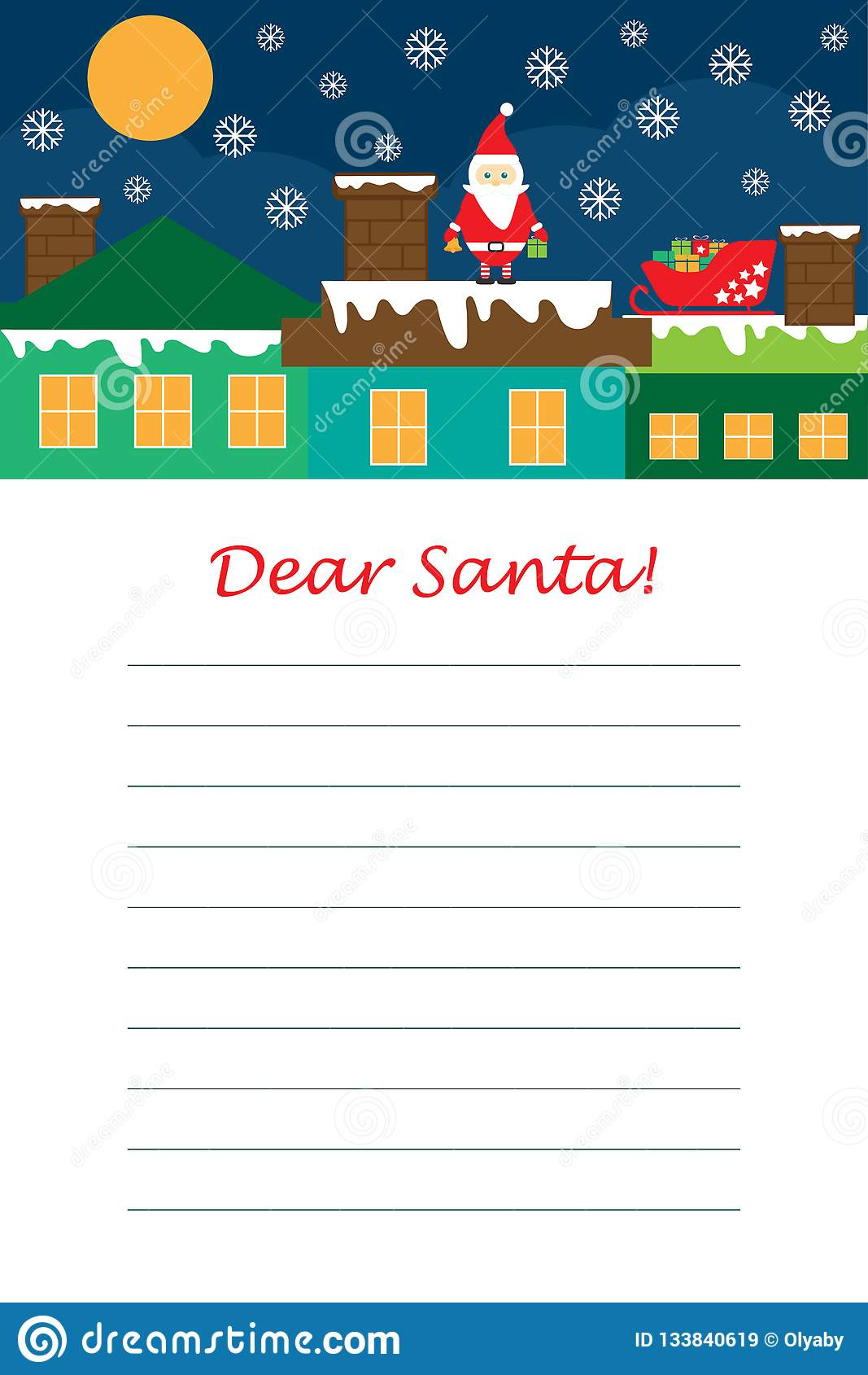 Christmas Letter To Santa Claus For Children Template