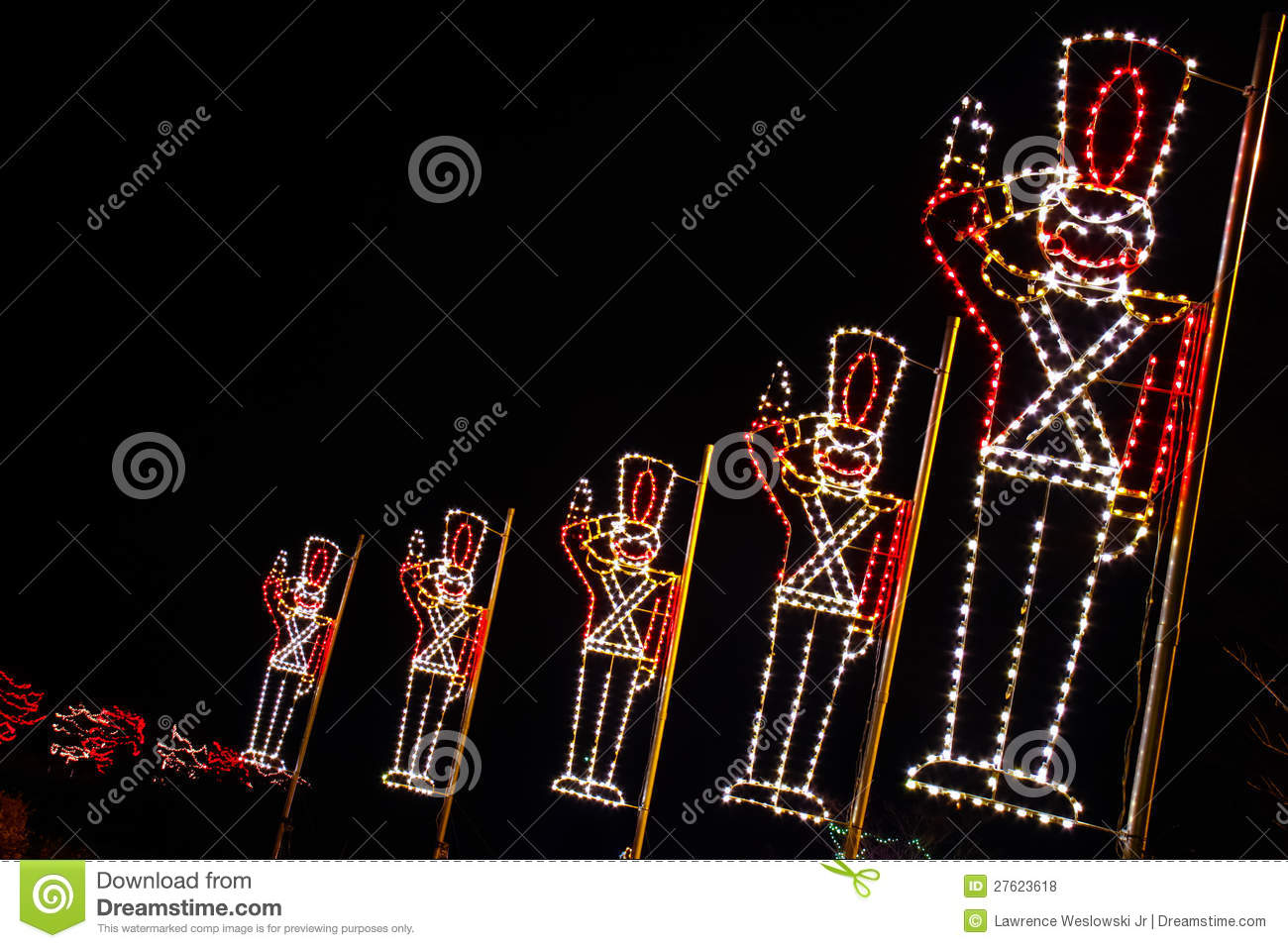 Christmas Lights Toy Soldiers Saluting Royalty Free