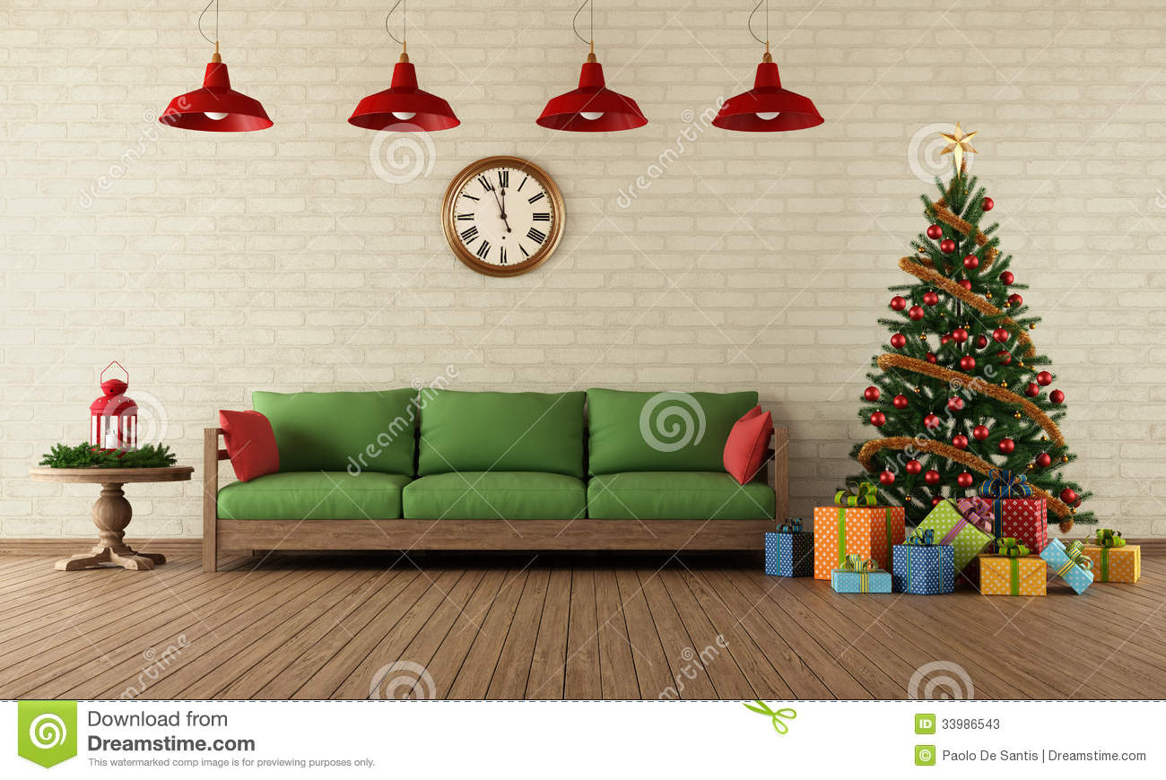 Christmas living room stock illustration. Image of bubbles