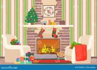 Christmas Livingroom Flat Interior Vector Illustration ...