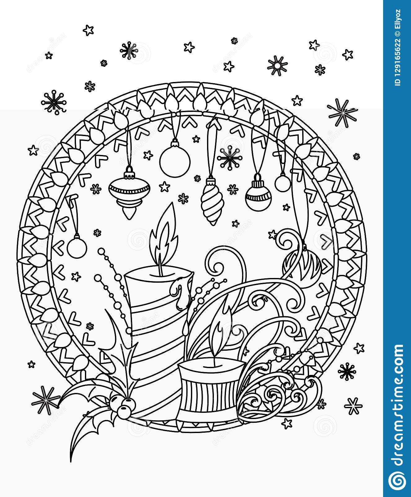 Christmas Coloring Page Stock Vector Illustration Of