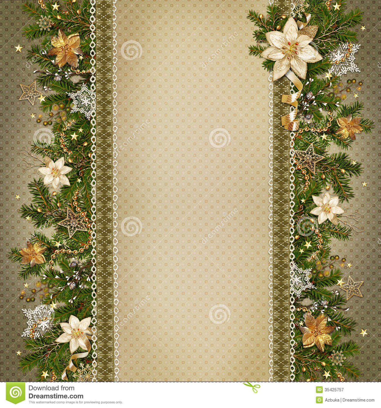Christmas Miraculous Garland On Vintage Background Stock