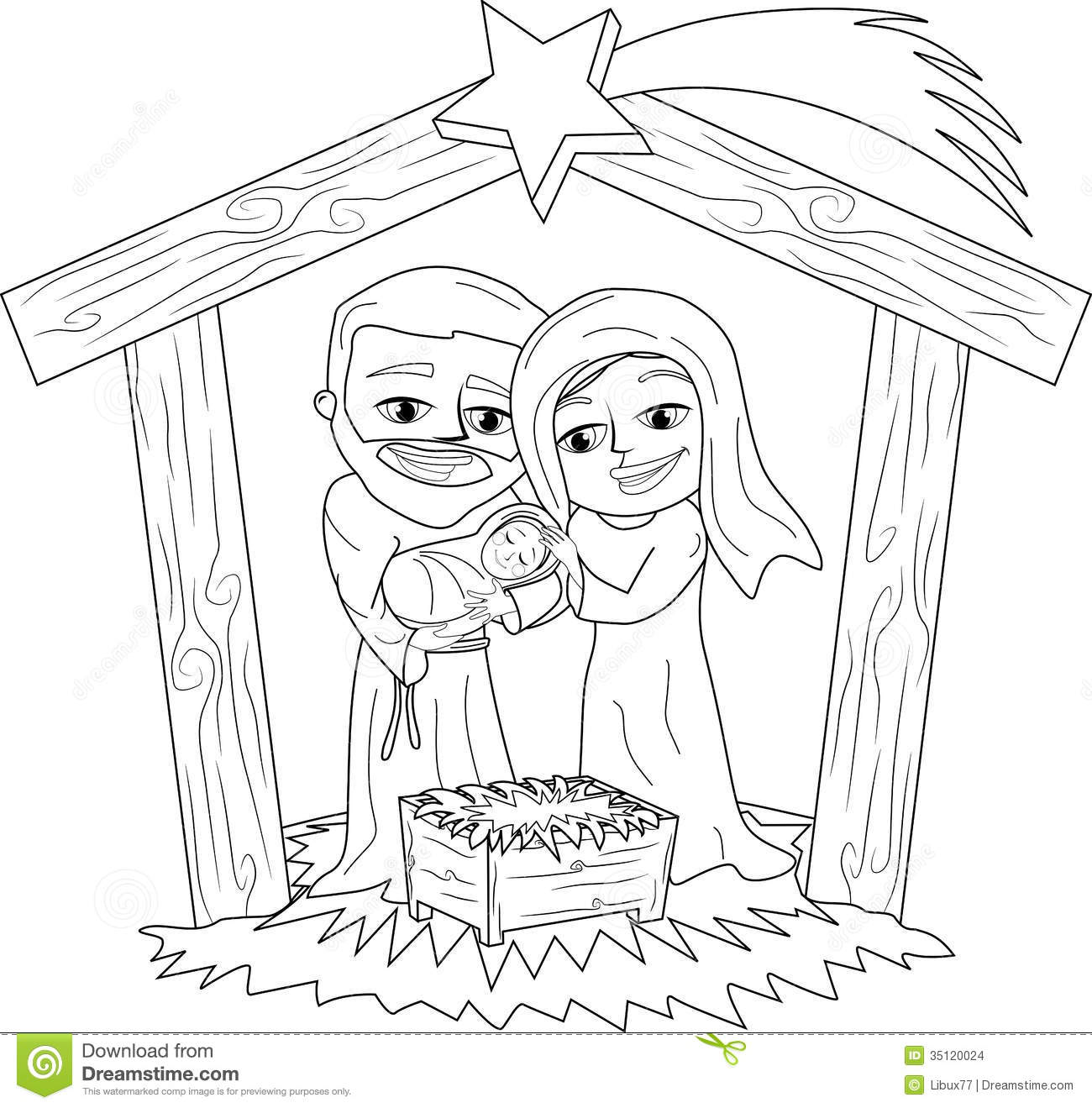 Christmas Nativity Scene Coloring Page Stock Vector