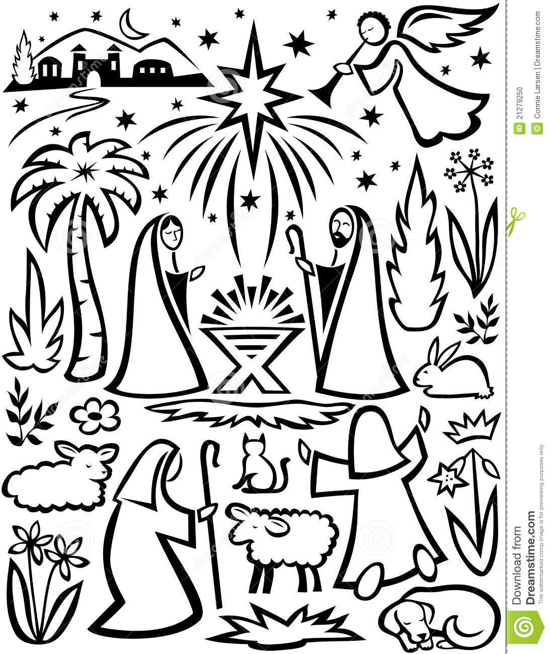 Christmas Nativity Set Eps Stock Photo