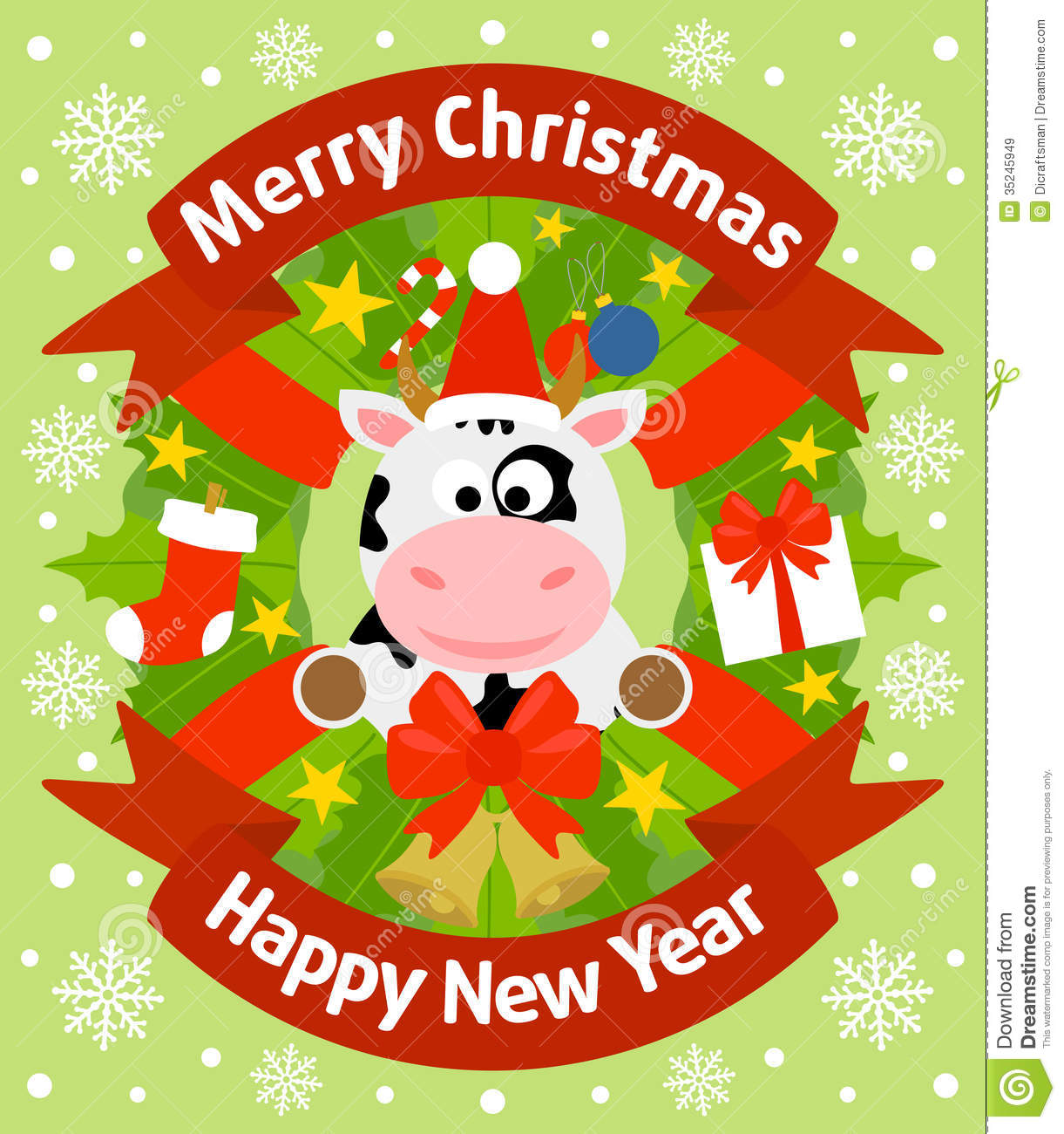 Christmas And New Year Background With Cow Royalty Free