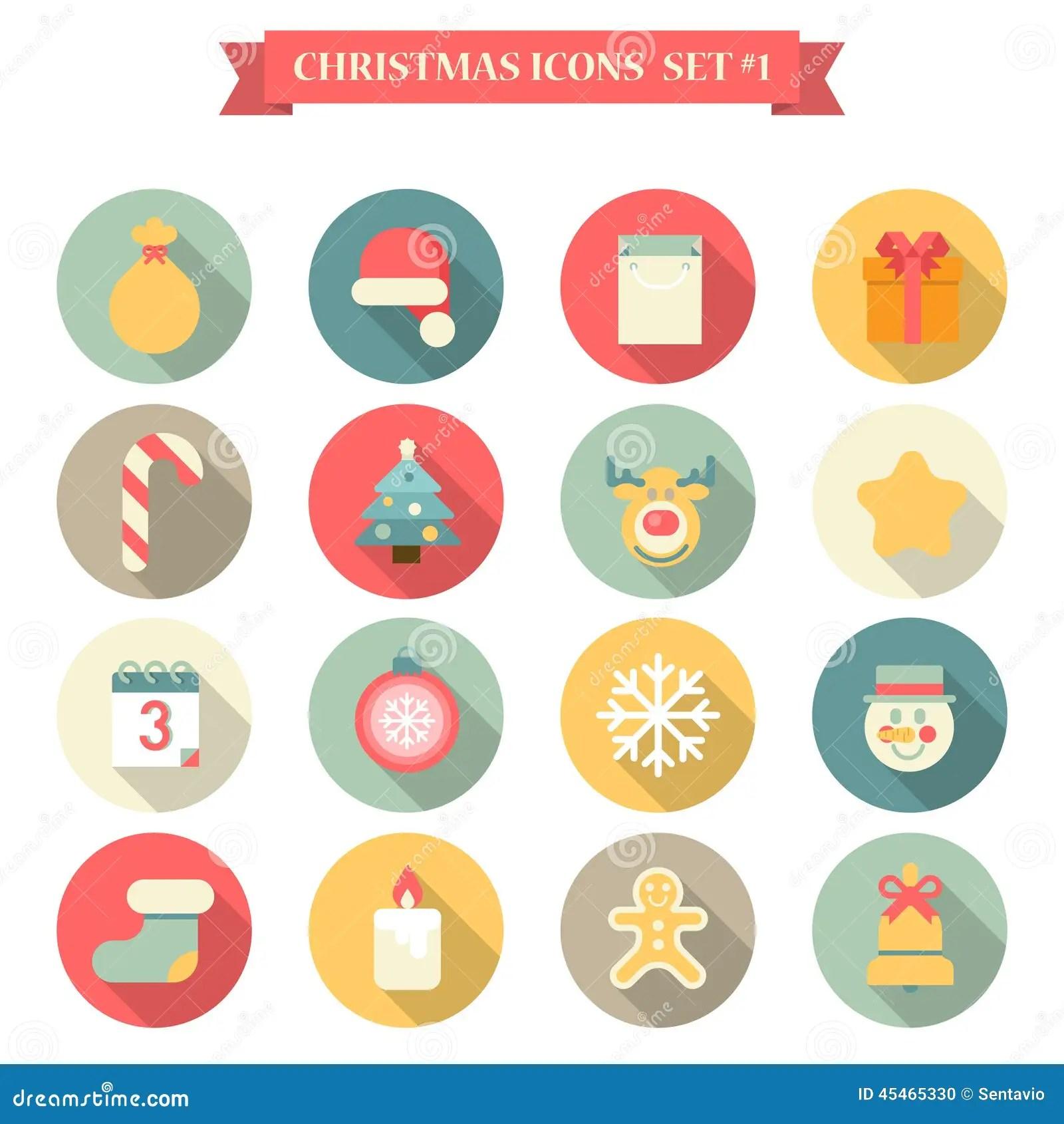 Christmas New Year Icon Set Flat Style Objects Santa Hat