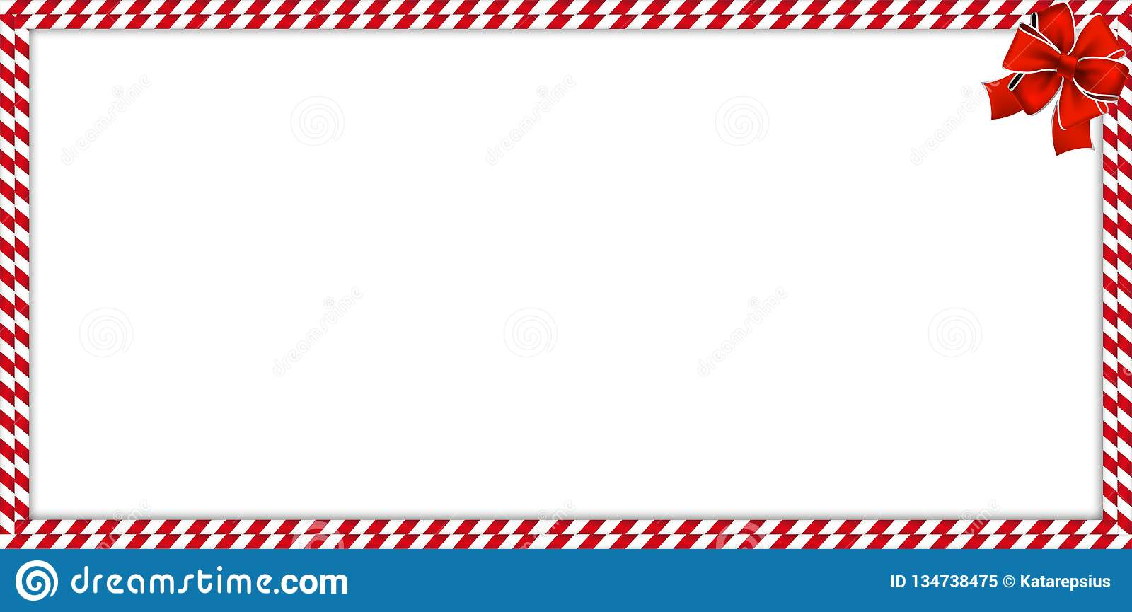 Christmas New Year Rectangle Candy Cane Border With