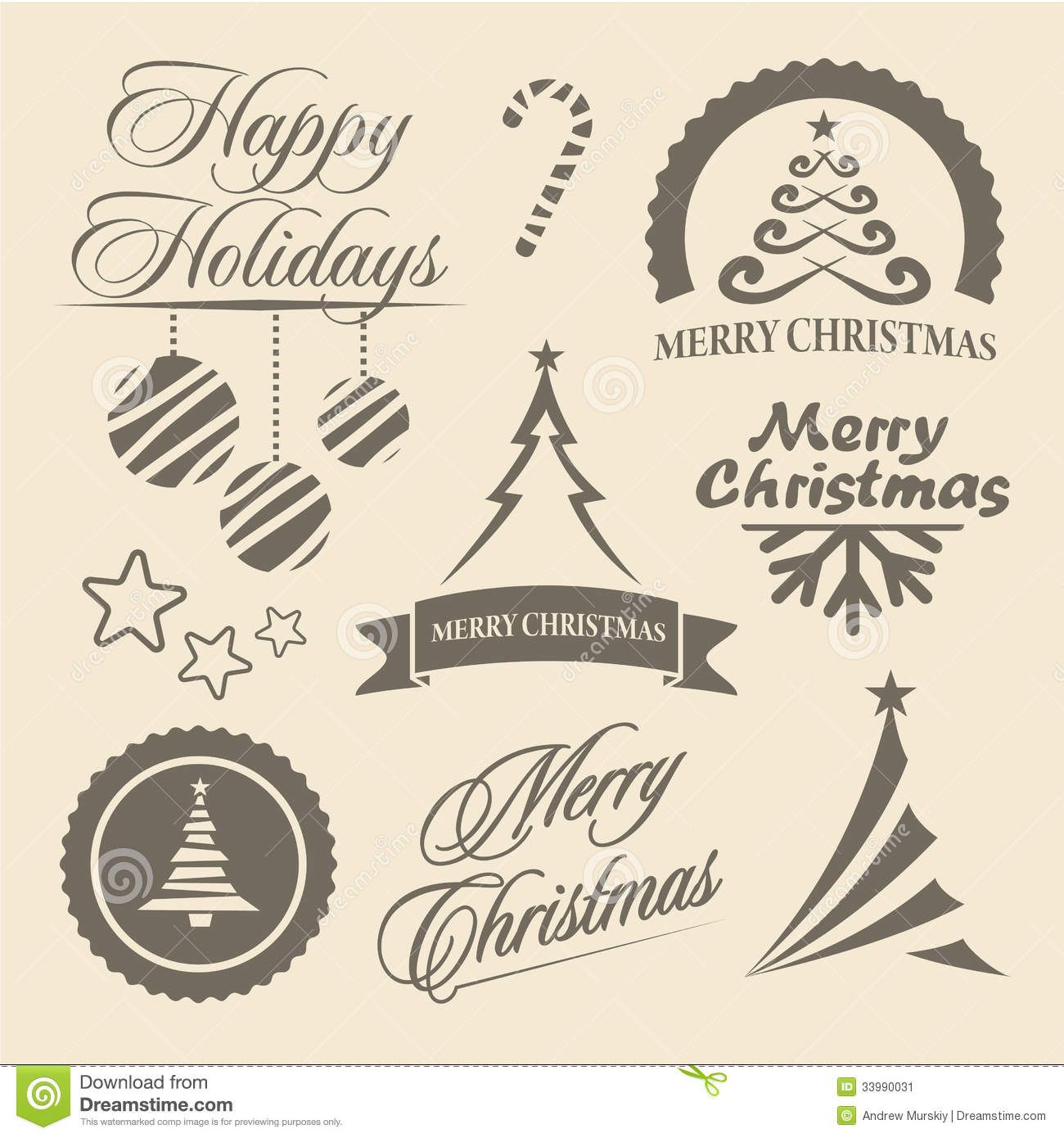 Christmas And New Year Symbols And Design Elements Stock