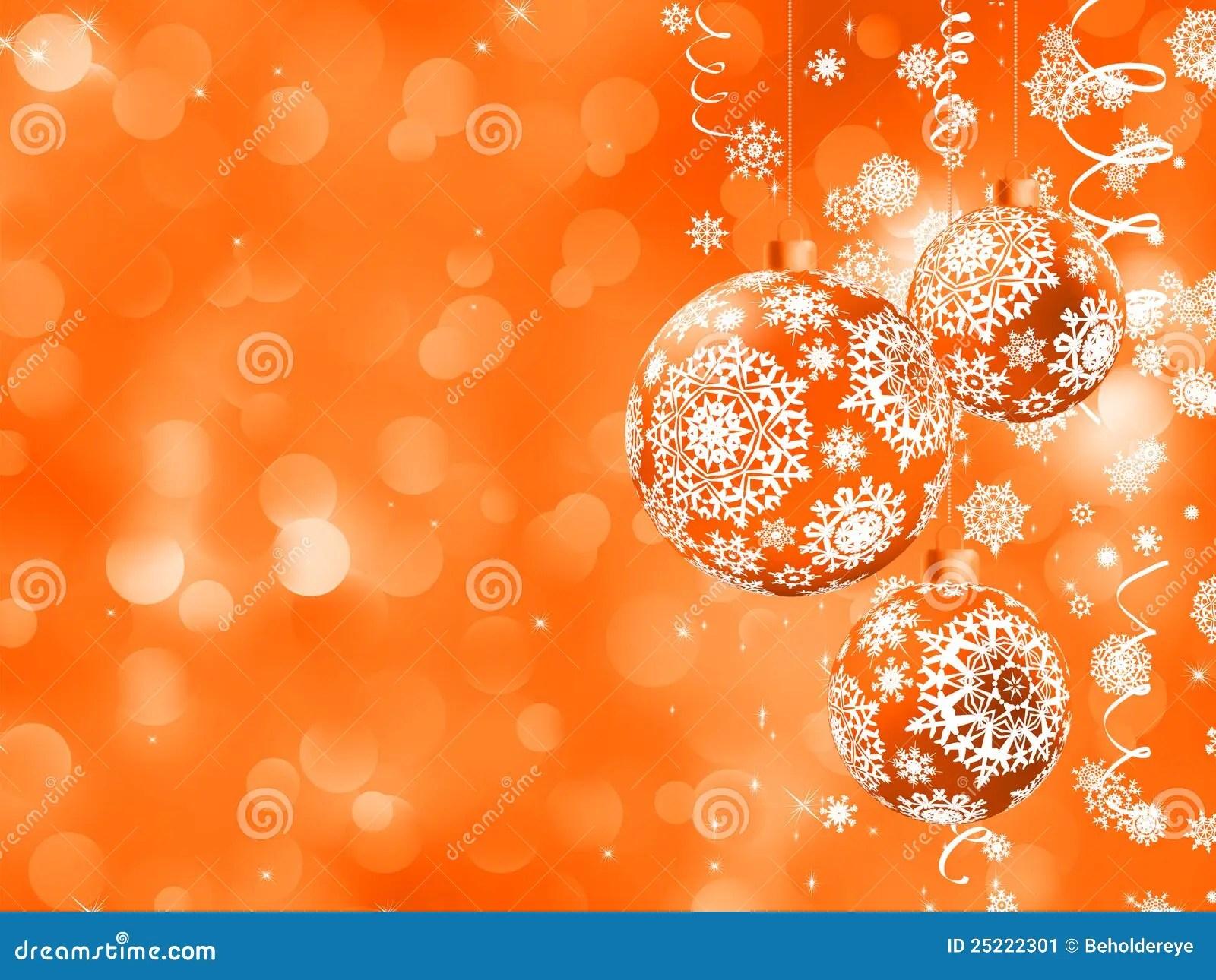 Christmas Orange Background With Snowflakes EPS 8 Stock