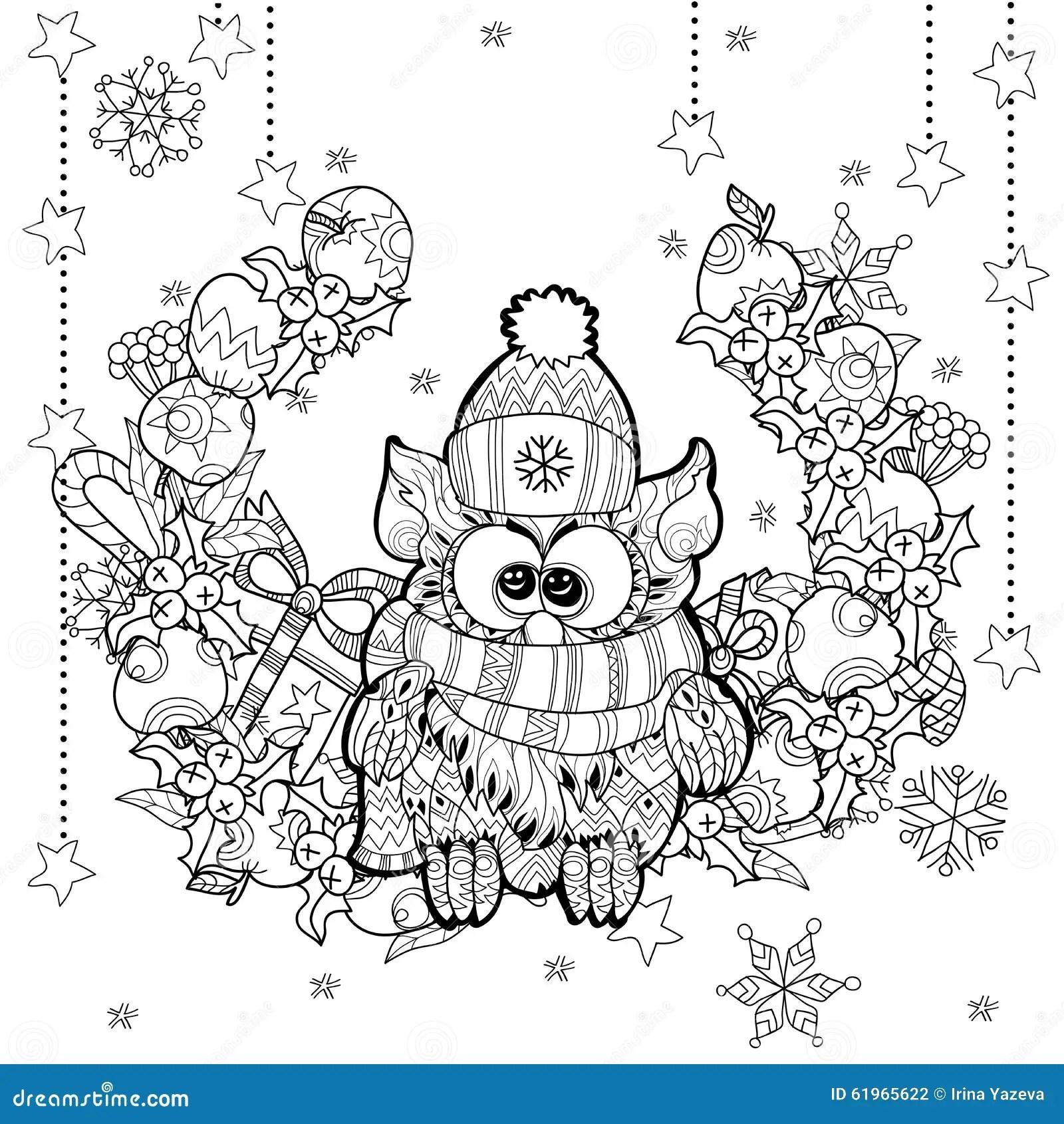 Christmas Owl With Gift Box Zentangle Doodle. Stock Vector