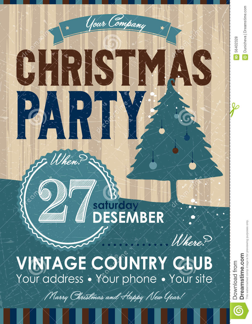 Christmas Party Flyer Stock Vector Image Of Pine Design