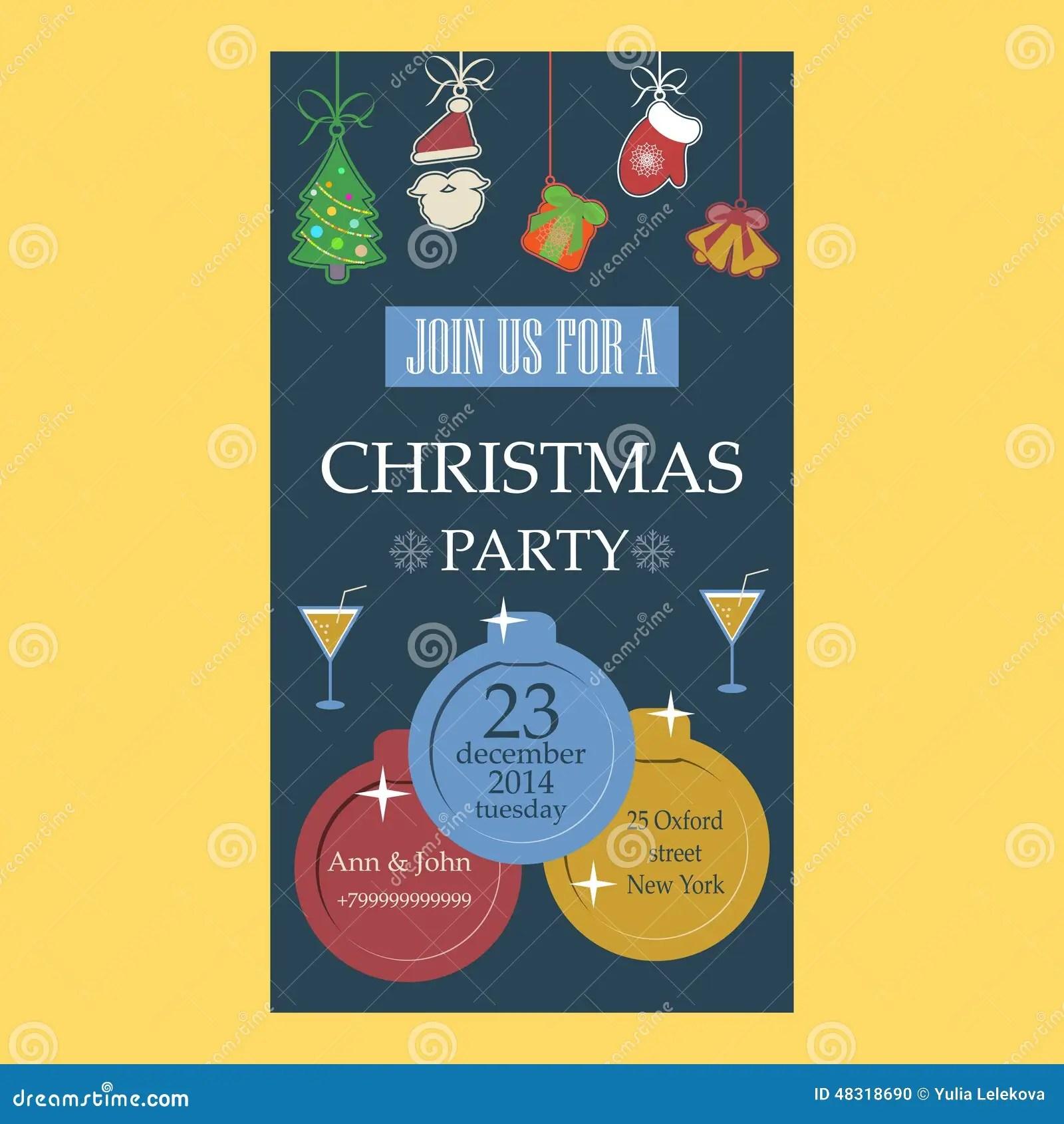 Christmas Party Invitation Flat Design Stock Vector