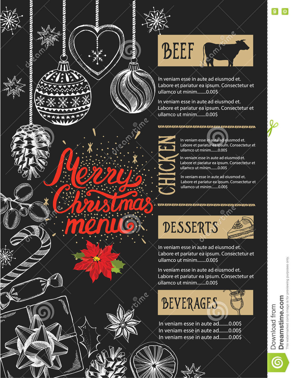 Christmas Party Invitation Food Menu Restaurant Stock Vector Image 78988178