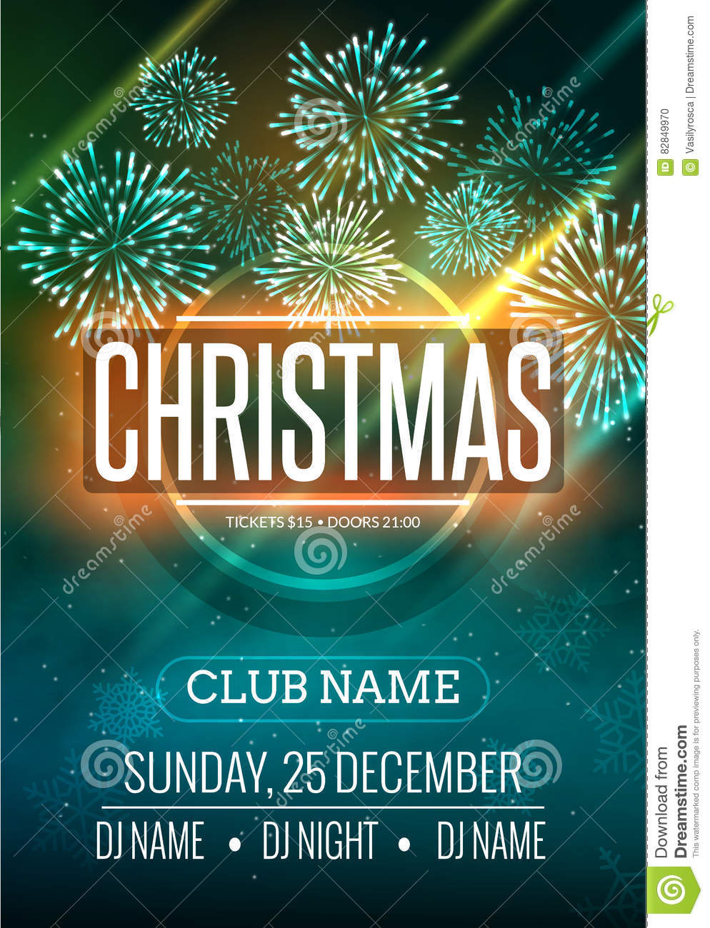 Download Christmas Party Poster Design With Fireworks Light. New Year Disco Flyer  Template. Stock