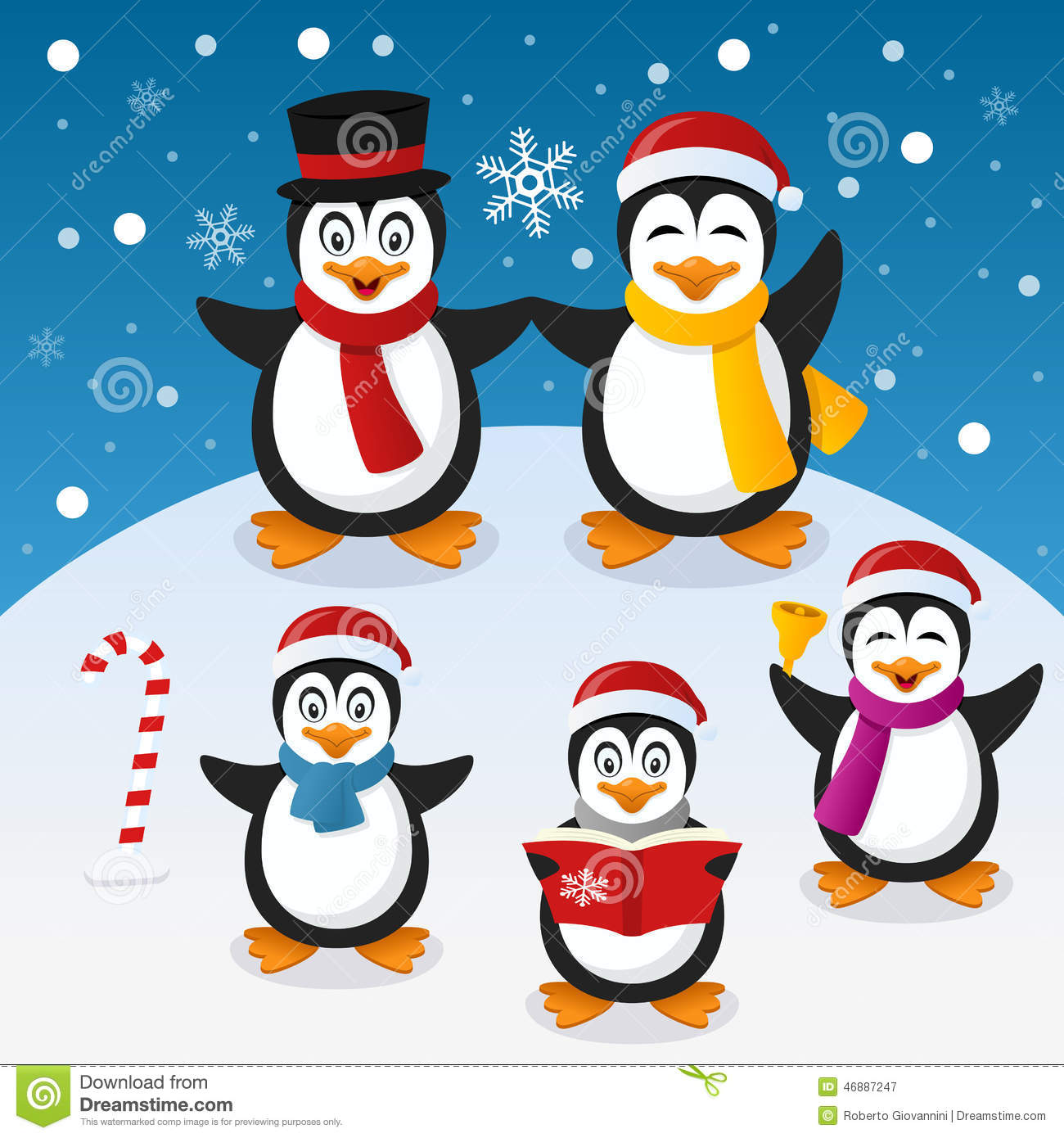 Christmas Penguins Family On The Snow Stock Vector Image