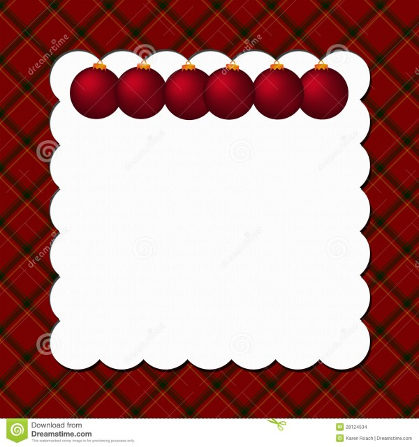 Christmas Plaid Background With Ornaments Stock - 28124534