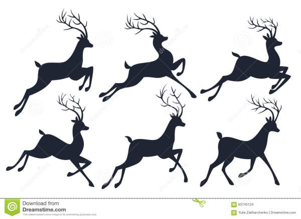 Christmas Reindeer Silhouettes Isolated White Stock Vector - 63745124