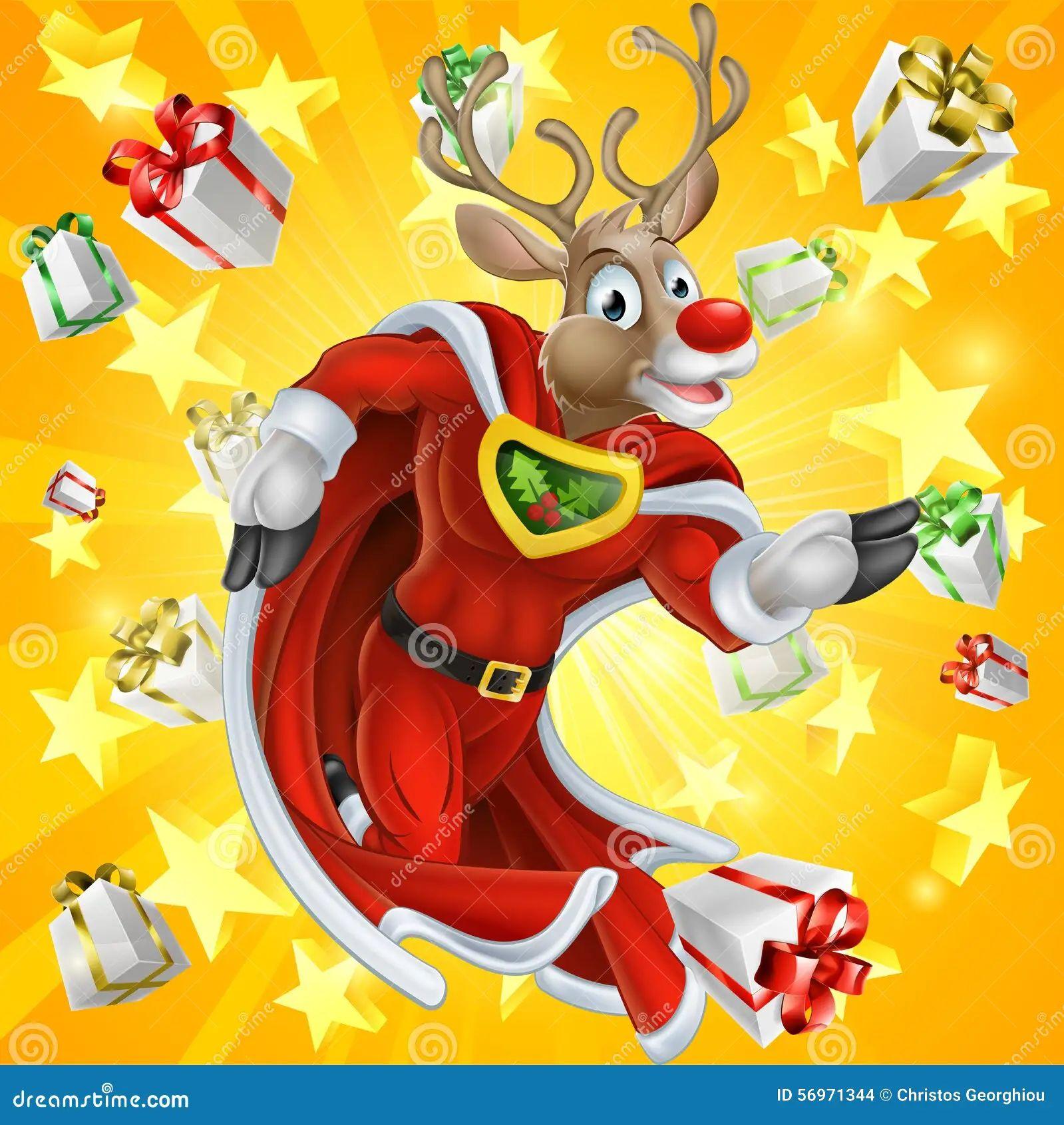 christmas reindeer super hero stock vector
